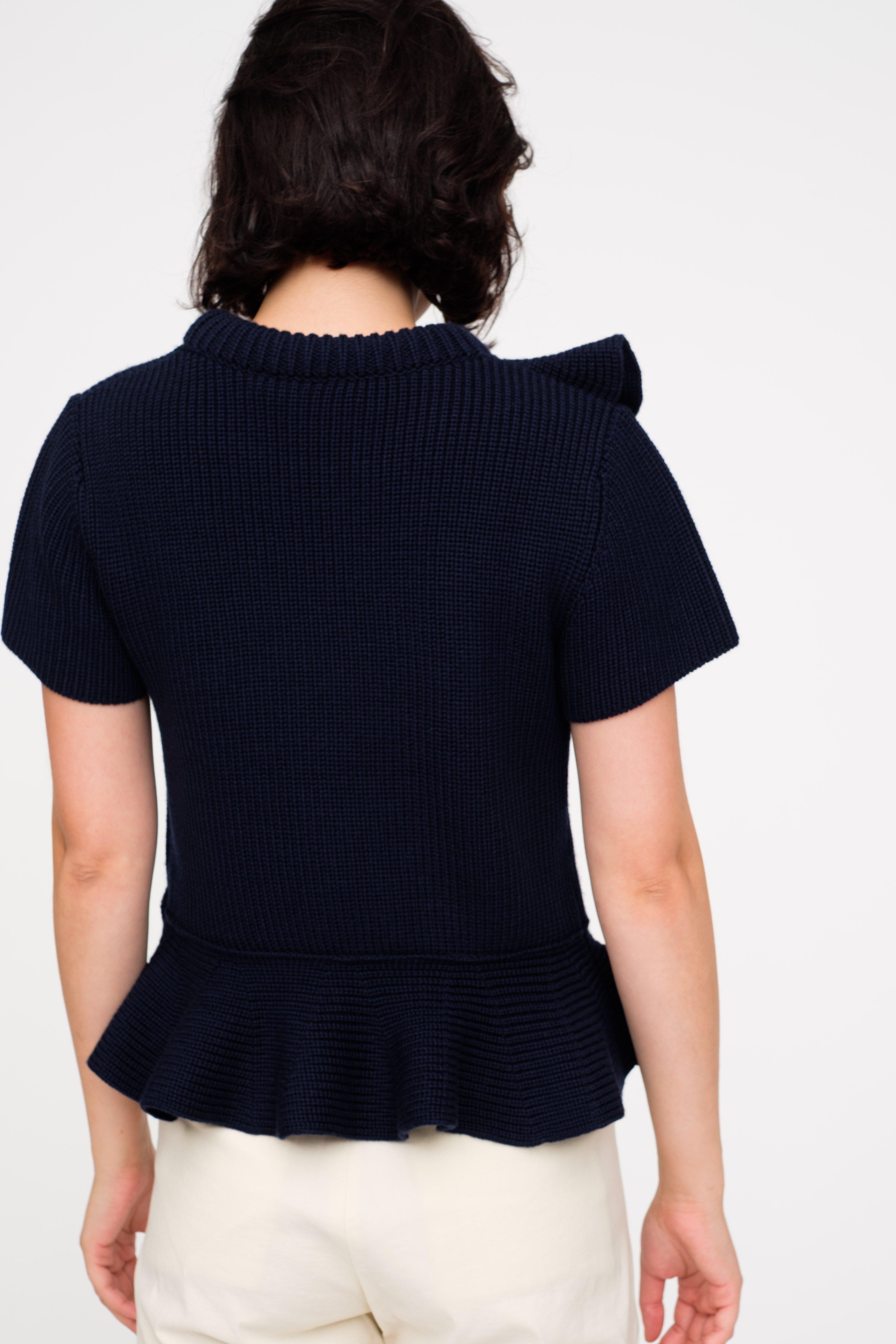 Sea Short Sleeve Ruffle Sweater in Blue   Lyst