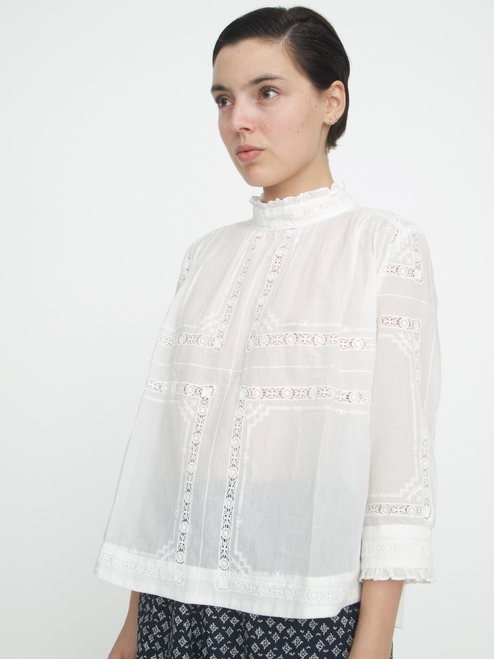 Sea long sleeve lace top in white lyst for Adam lippes women s long sleeve vee t shirt