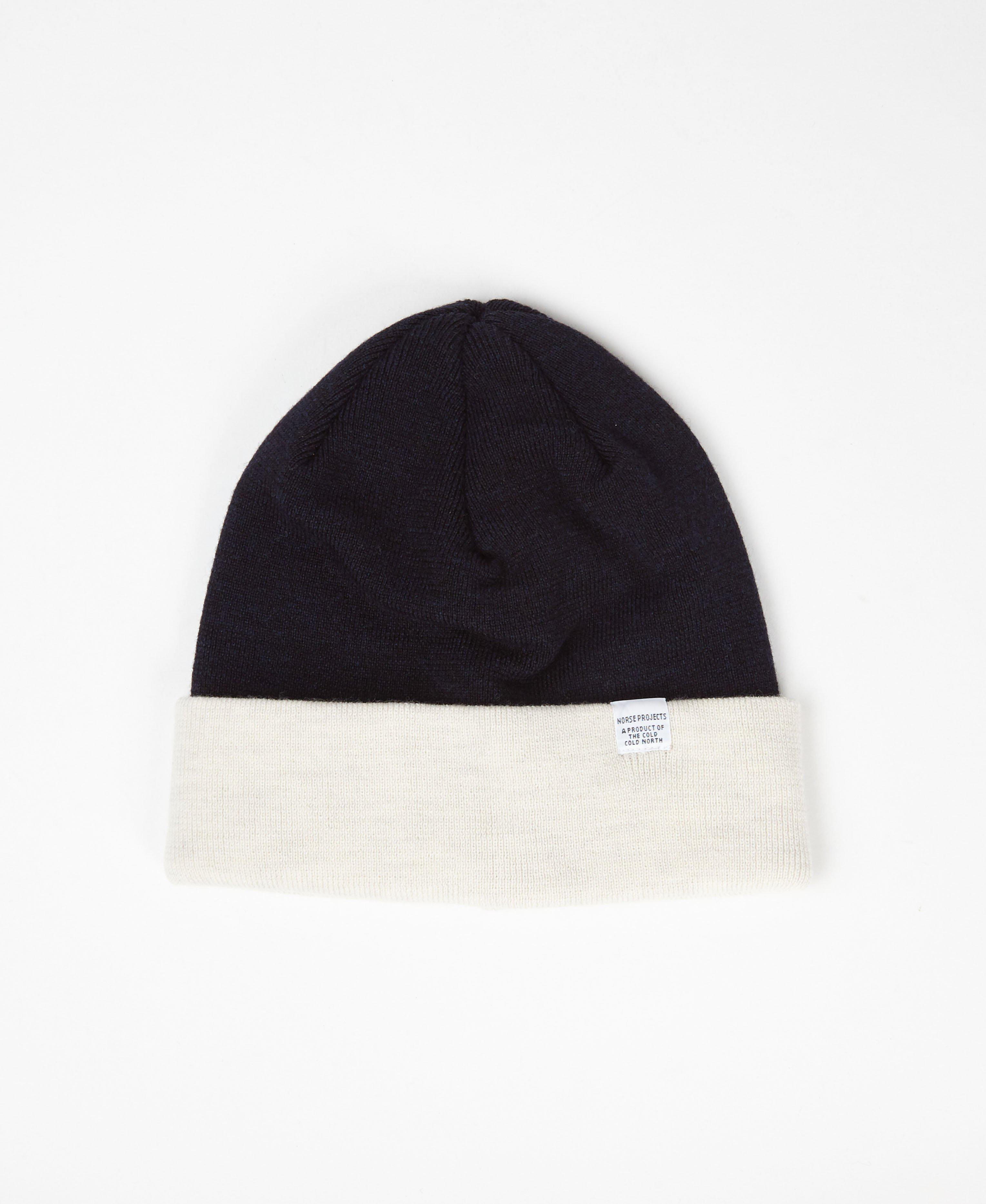 4ddedde15a3 Norse Projects Ecru   Navy Colour Block Beanie in Blue for Men - Lyst
