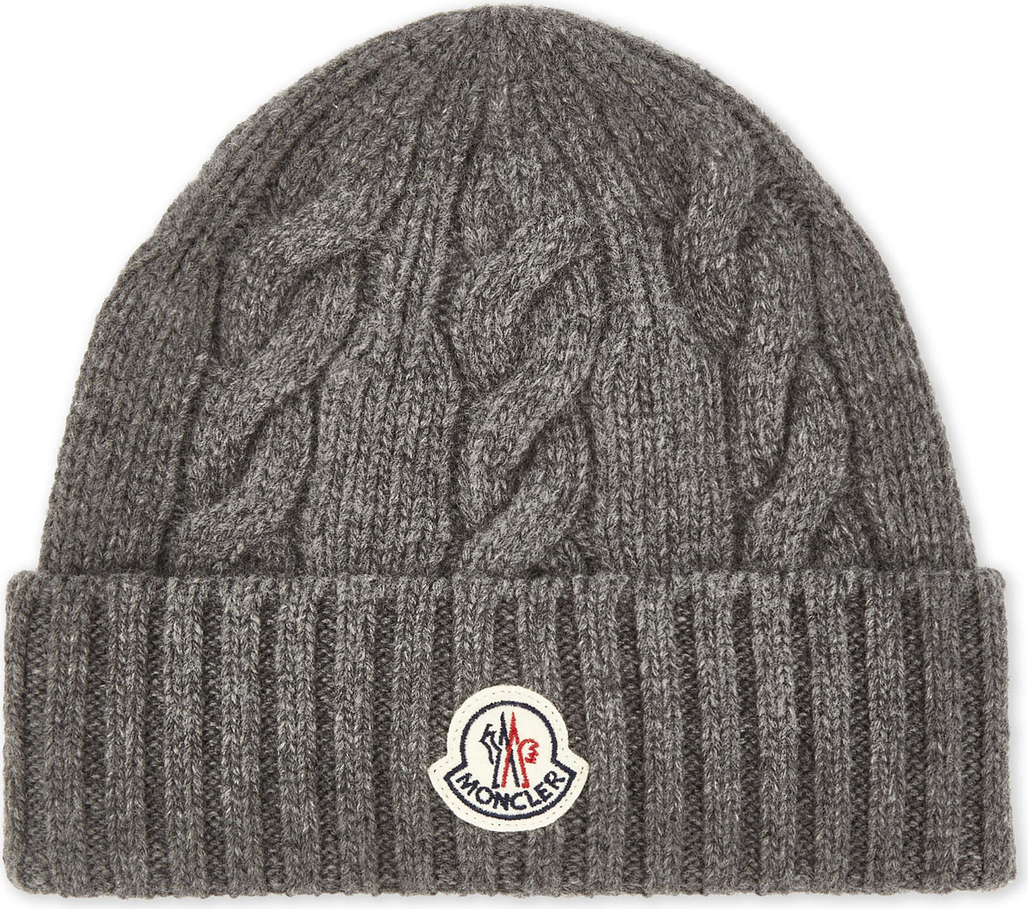 734400facaa Lyst - Moncler Cable Knit Wool Beanie in Gray