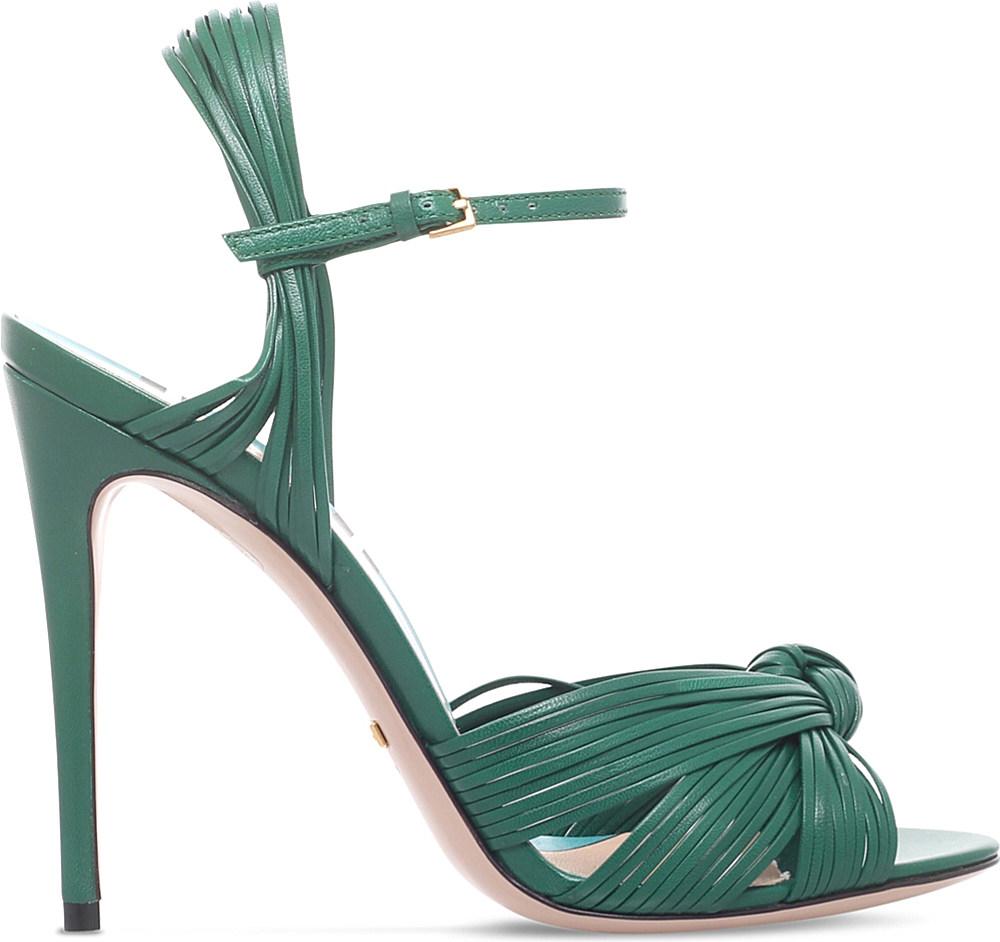 c50dd30d08c20c Lyst - Gucci Allie Leather High-heel Sandals in Green