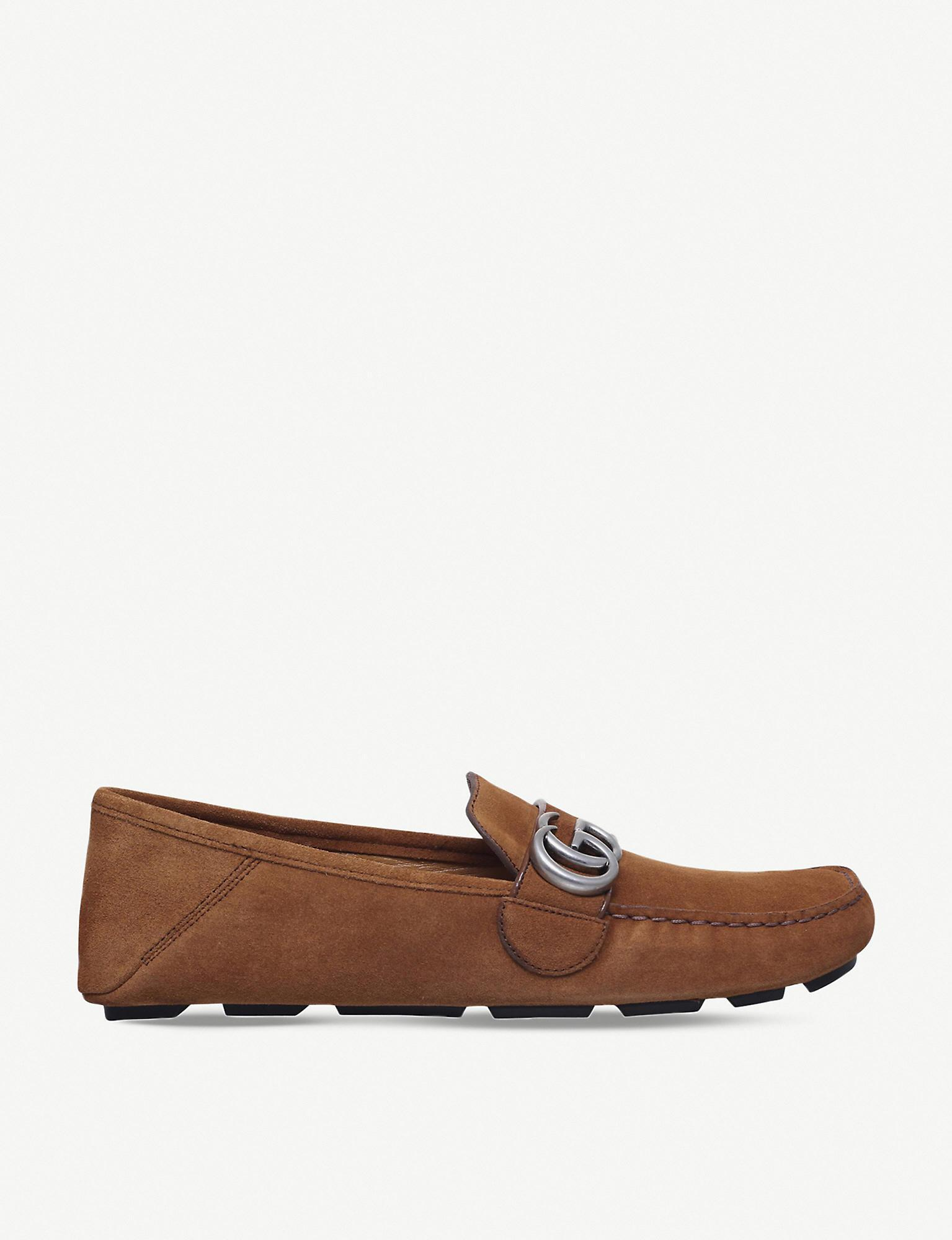983a5c84a2f Lyst - Gucci Noel Suede Driving Shoes in Brown for Men