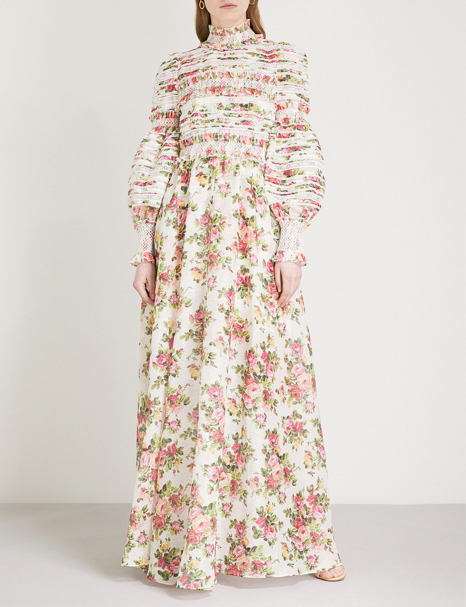 0330a796e4e Lyst - Zimmermann Radiate Smocked Linen-blend Maxi Dress