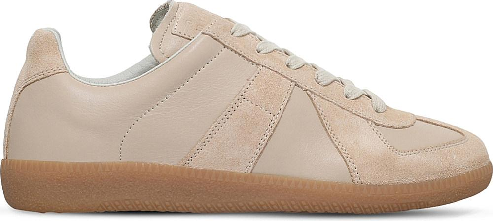 Maison Margiela Replica Leather And Suede Sneakers in Beige (Natural)