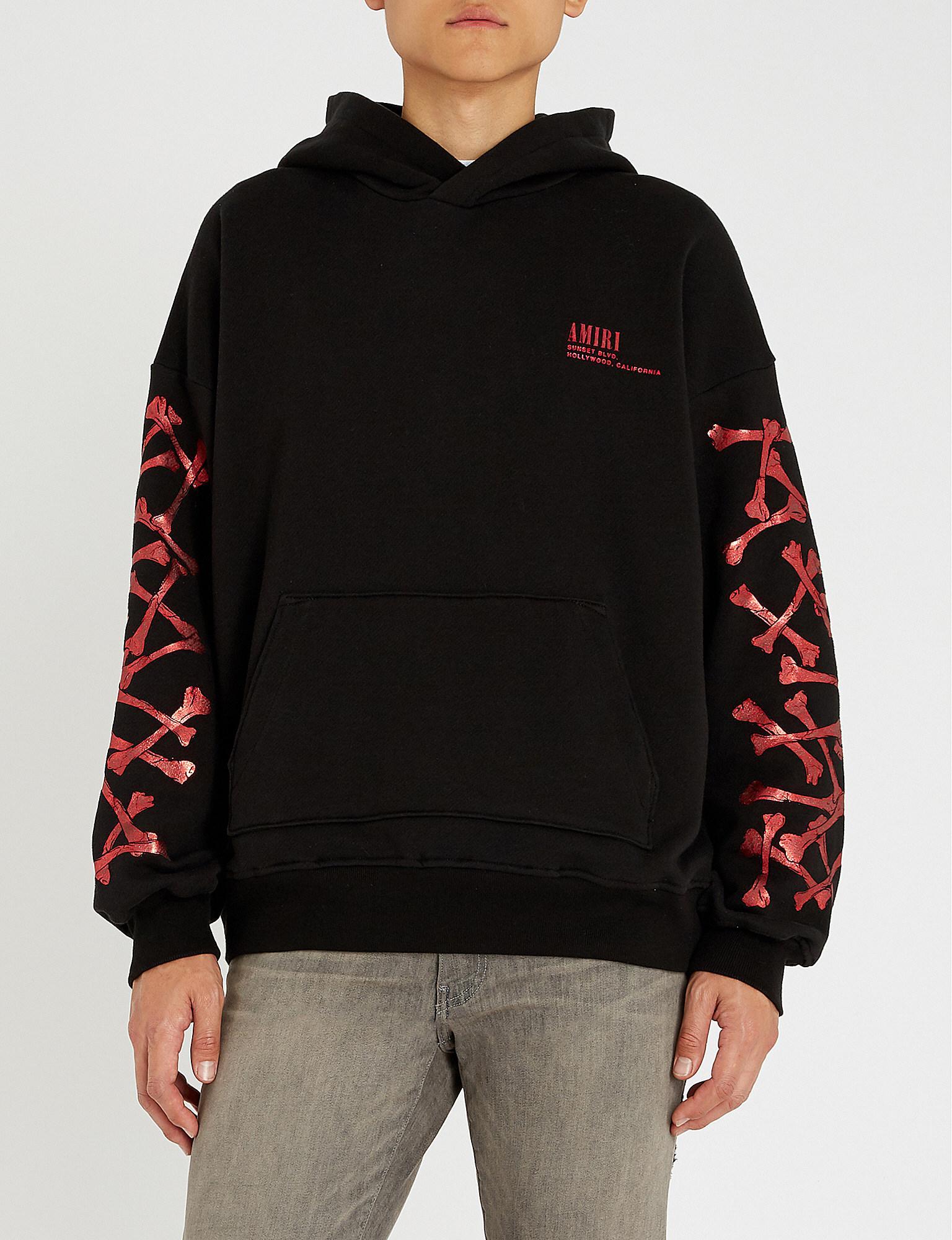 7f8b74f7b7e Amiri - Black Metallic-print Cotton-jersey Hoody for Men - Lyst. View  fullscreen