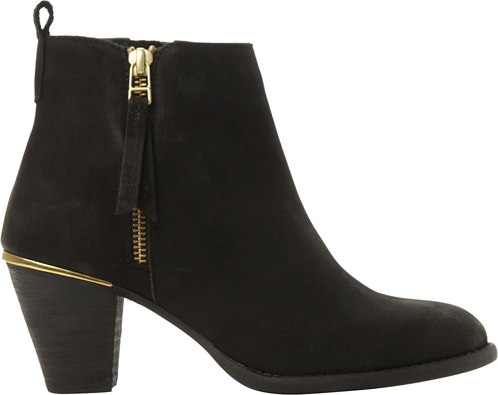 steve madden suede ankle boots in black black leather lyst