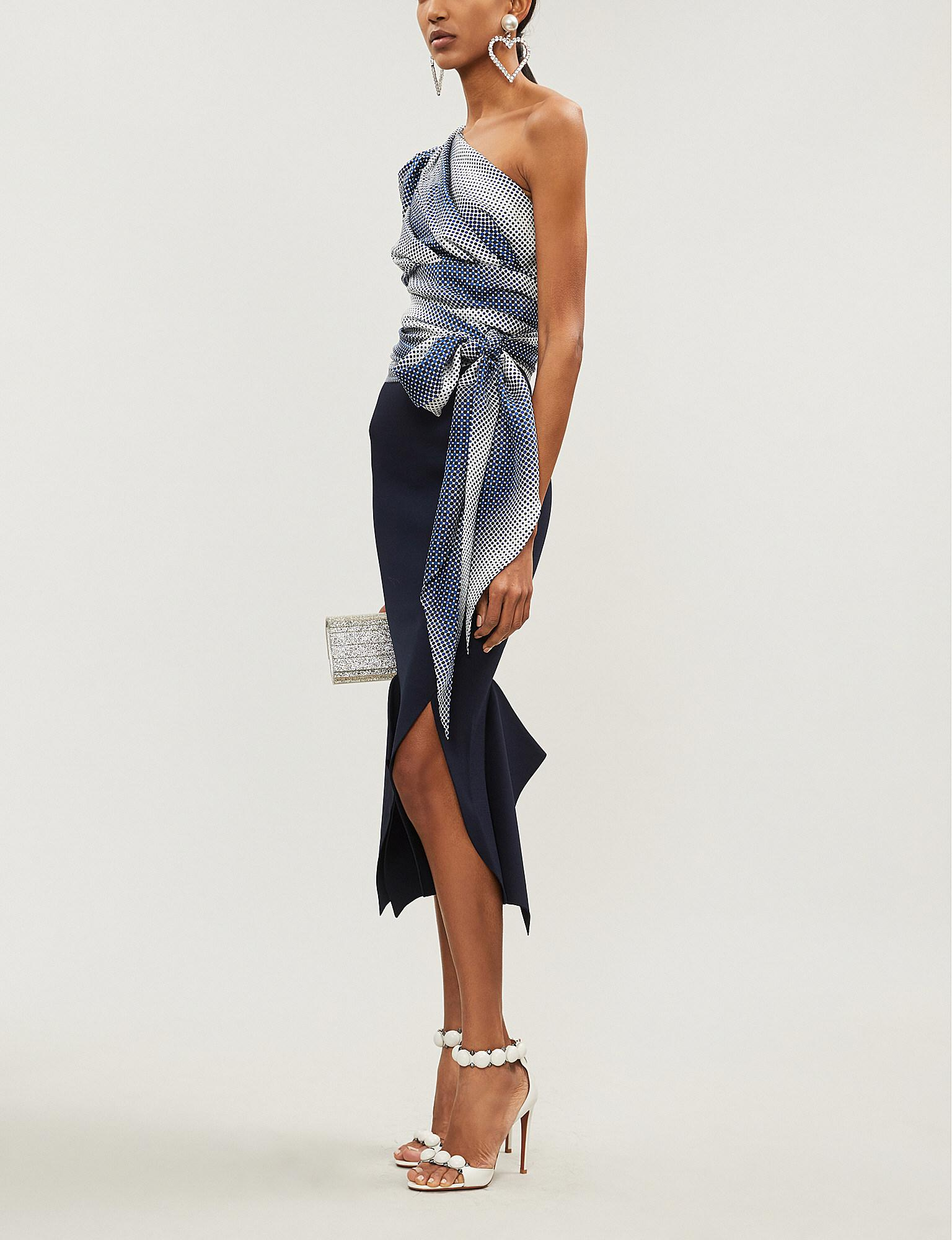 c0dfa708c18fa Lyst - Alexandre Vauthier One-shoulder Ruched Side-tie Silk Top in Blue