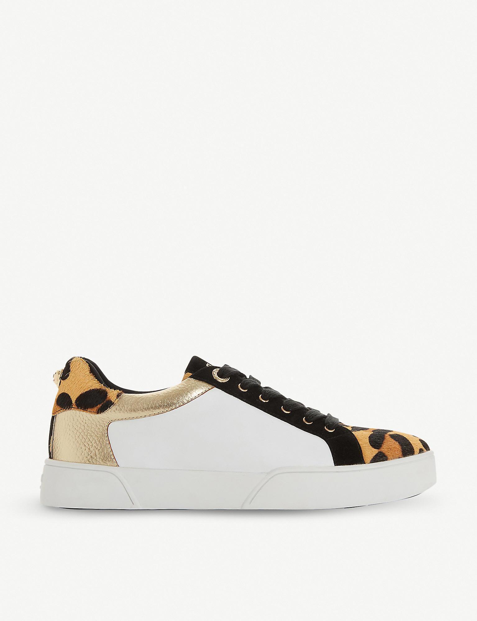 dune elsie leopard trainers