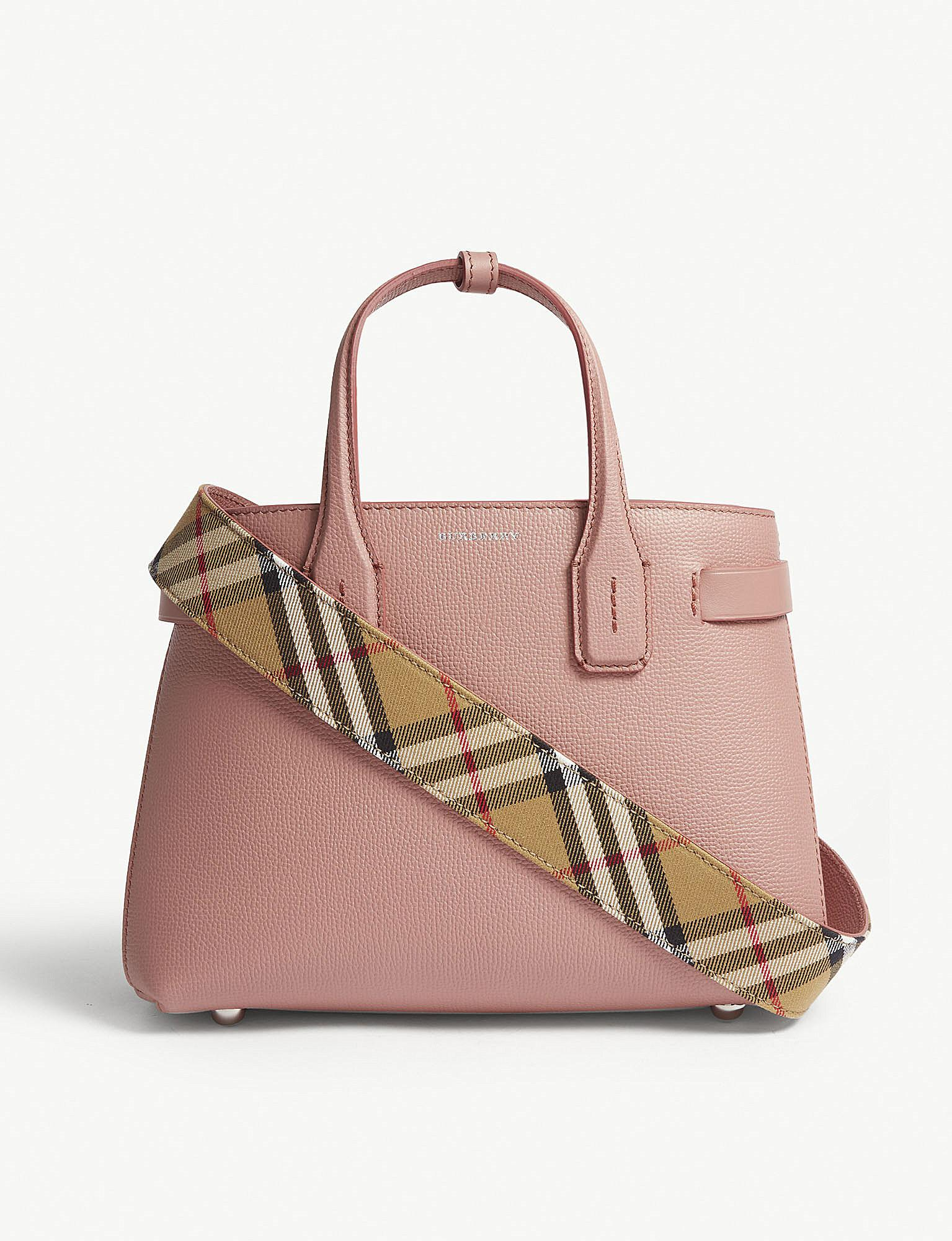Burberry. Women s Dusty Rose Pink Check New Banner Small Grained Leather  Tote Bag 0ada3d820cf5b