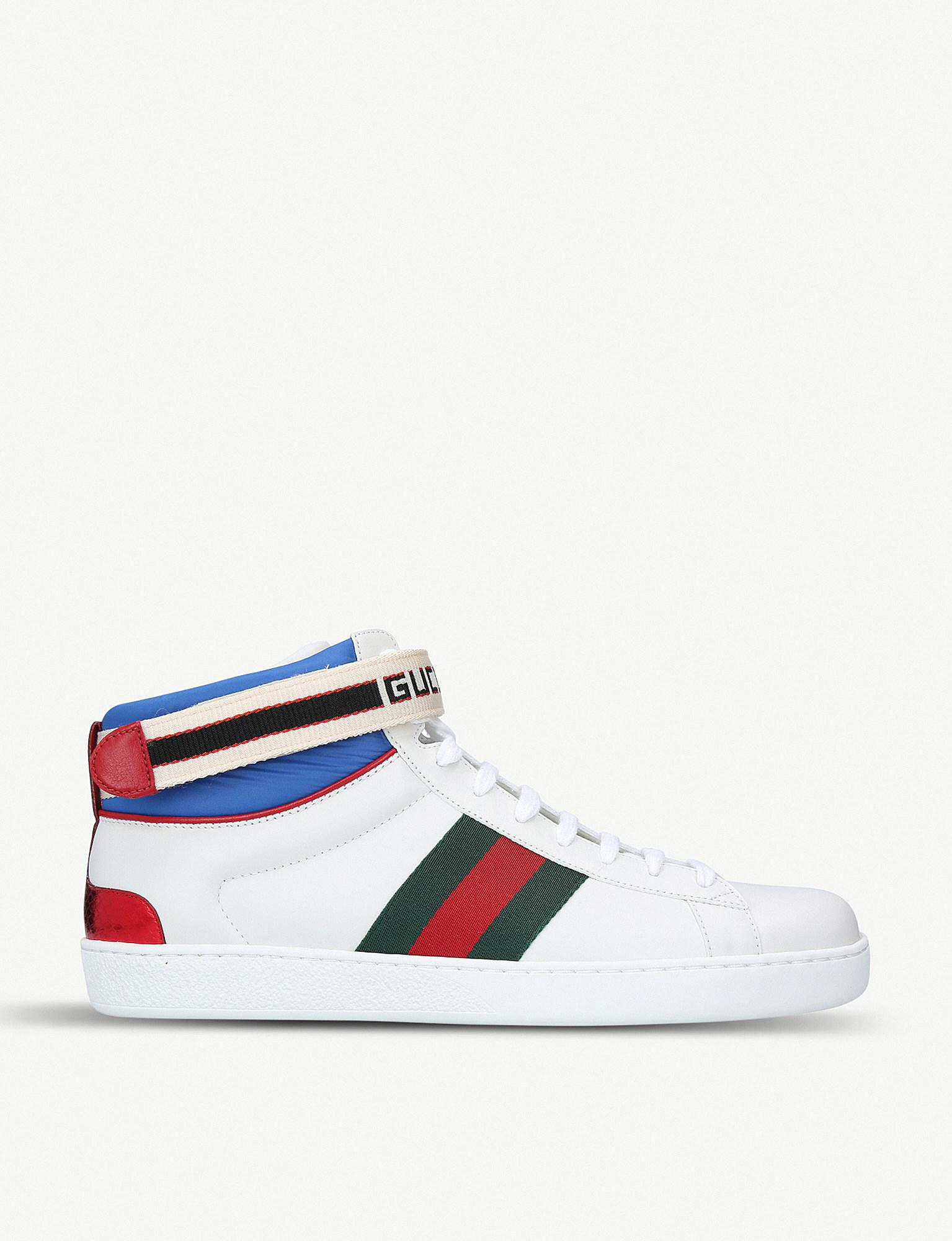 461292e1bb0 Gucci New Ace Stripe High Top Sneaker in White for Men - Lyst