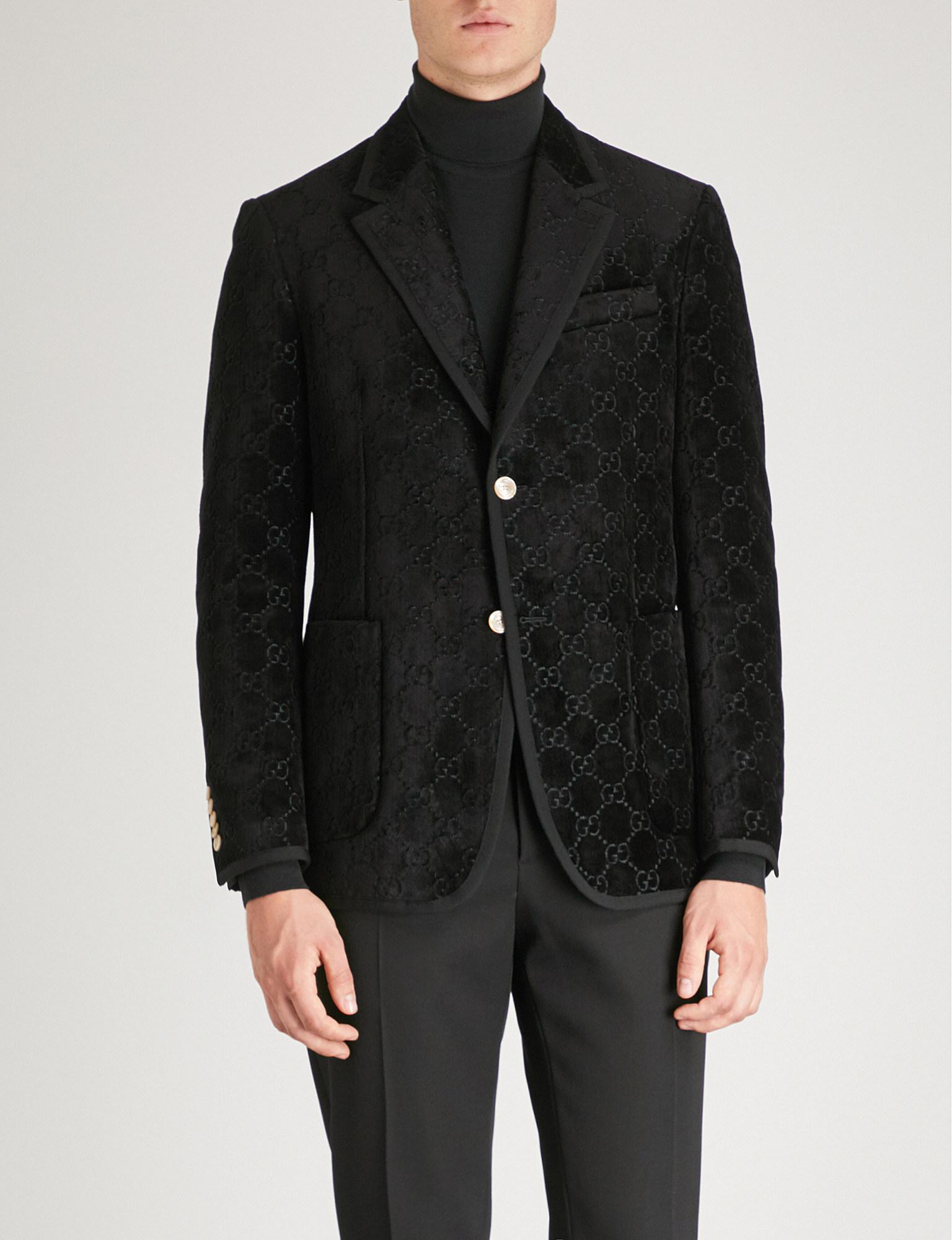 882a15f10 Gucci Palma GG Regular-fit Velvet Jacket in Black for Men - Lyst