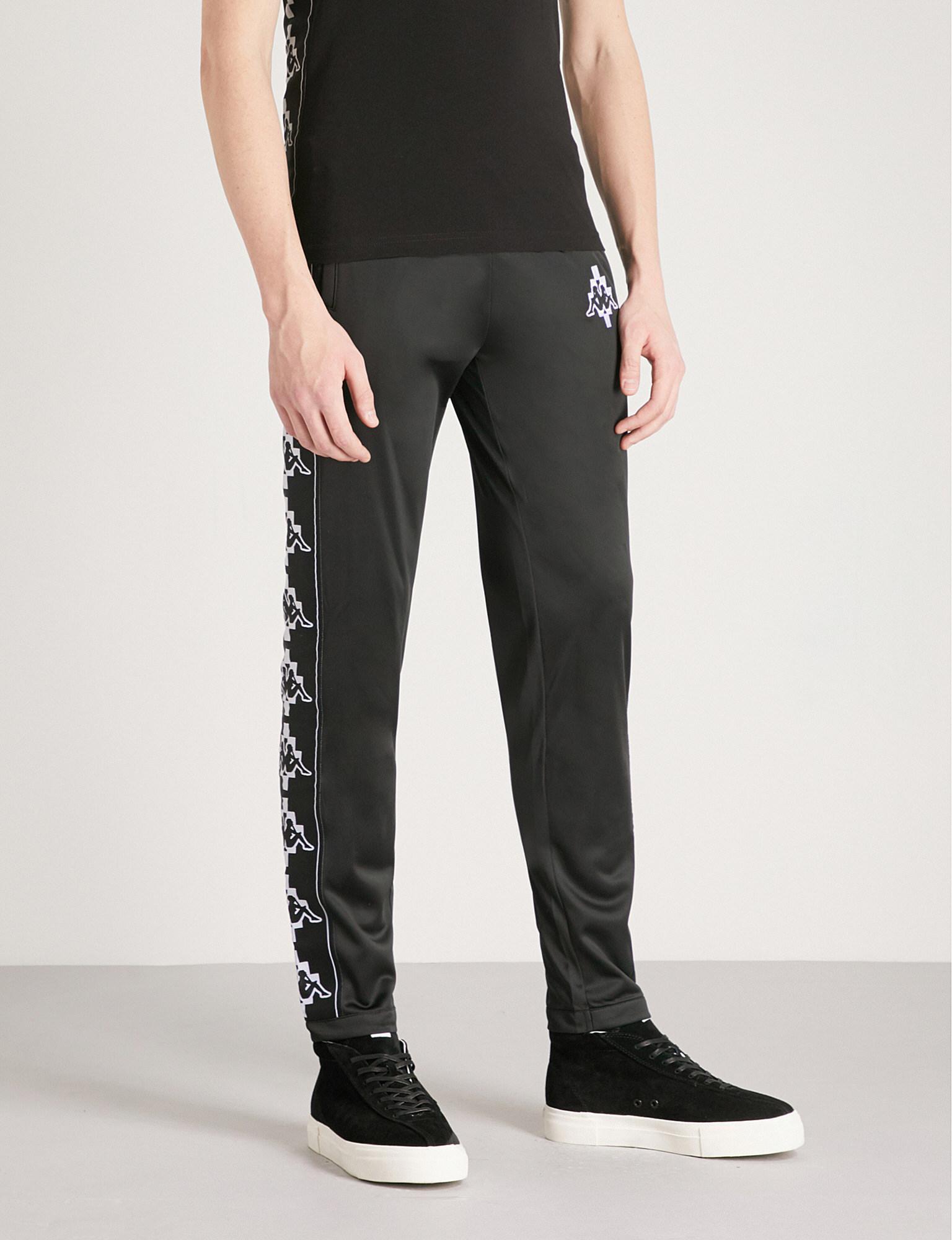 Marcelo Burlon. Men's Black Kappa Logo-detail Jersey Jogging Bottoms