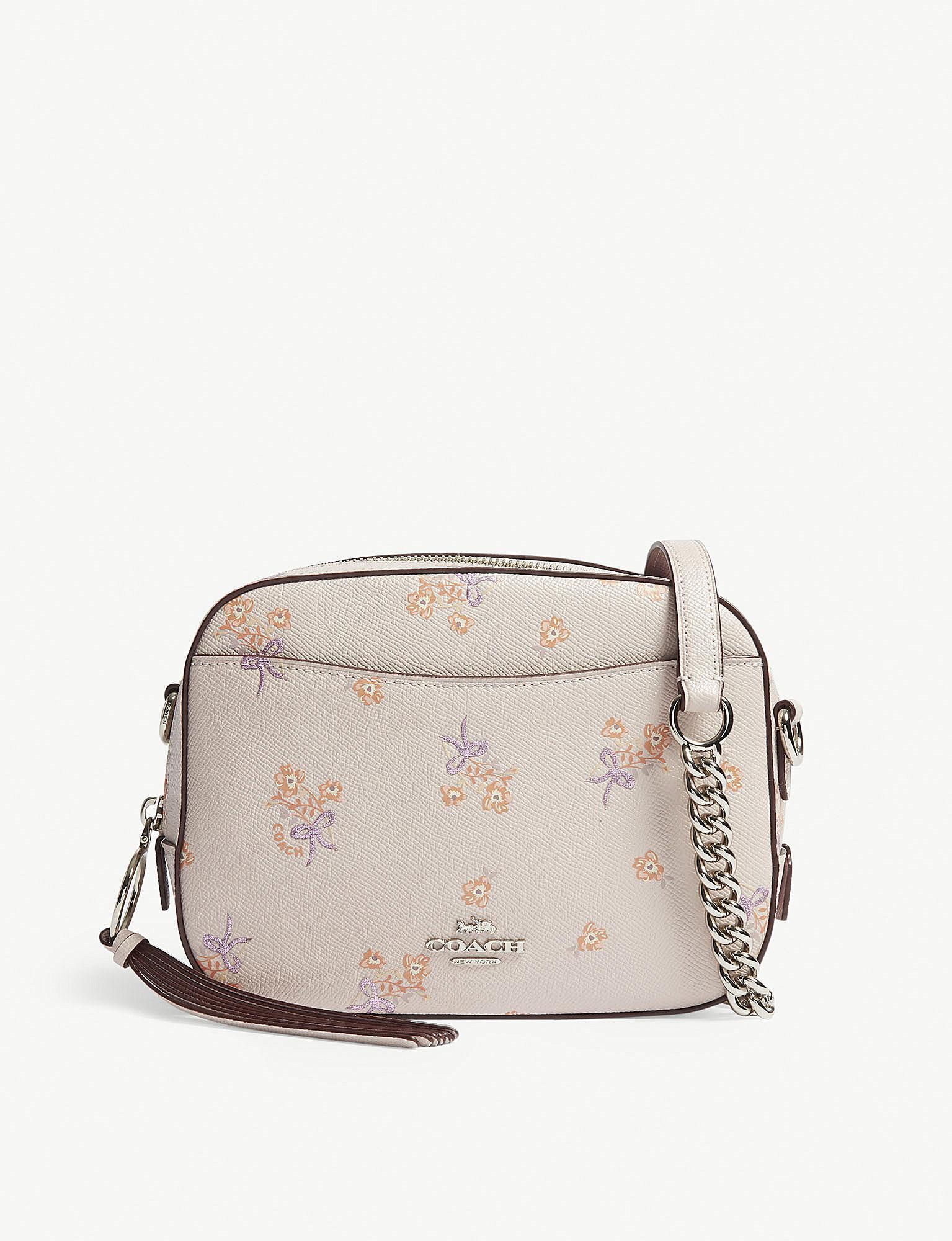 Coach Ladies Ice Pink Floral Elegant Leather Camera Cross Body Bag