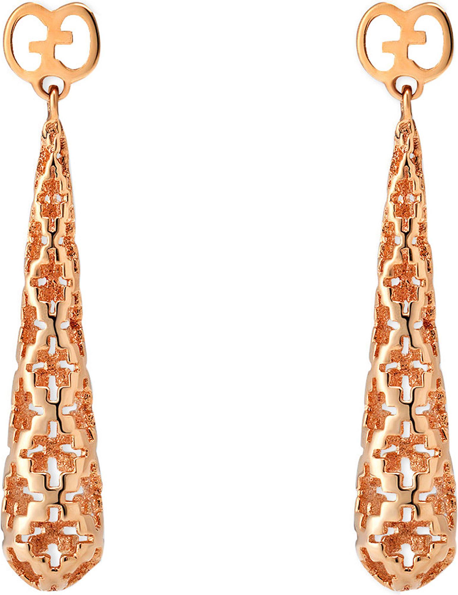 398f73230db Lyst - Gucci Diamantissima 18ct Rose Gold Earrings in Metallic