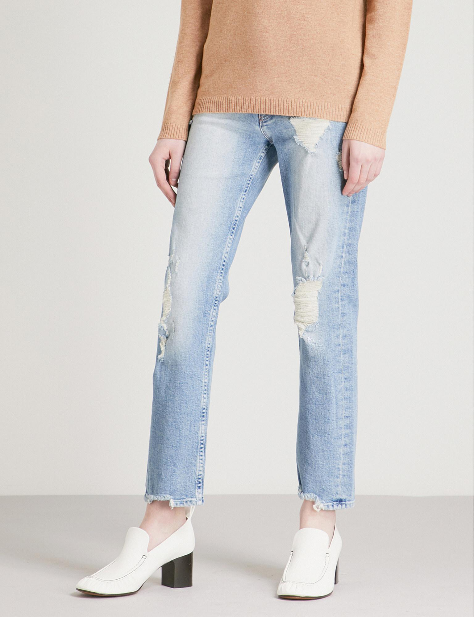 a54600ee98e3f Lyst - Mother The Tomcat Ankle Distressed Straight Mid-rise Jeans in ...