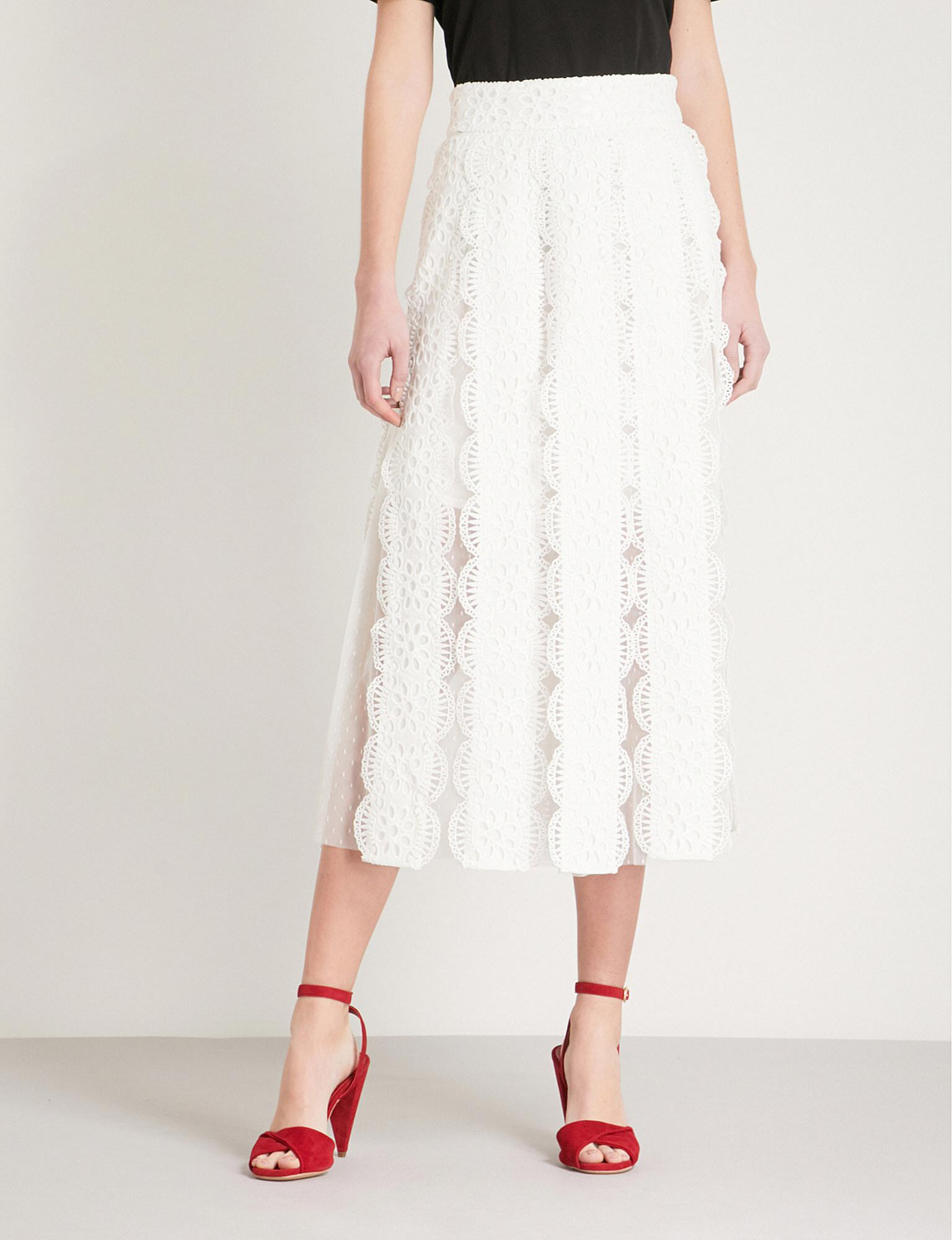 bddac5752d Maje Janila Lace And Mesh Skirt in White - Lyst