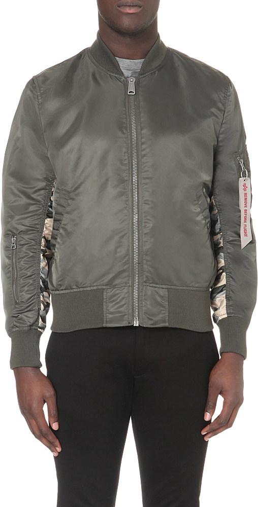 alpha industries reversible camouflage bomber jacket in. Black Bedroom Furniture Sets. Home Design Ideas