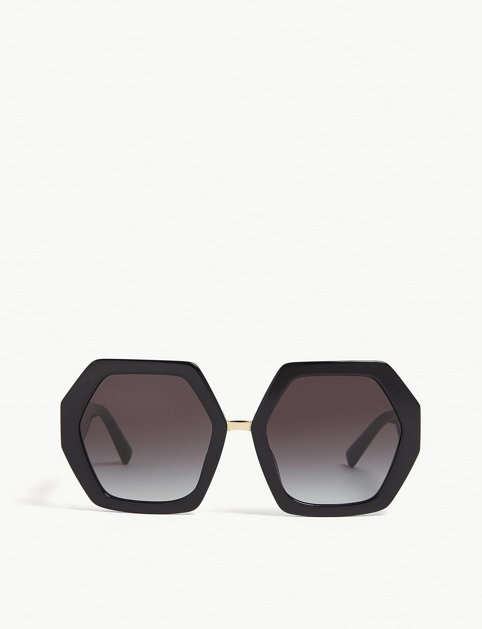 80236d78bcb4a Valentino Va4053 Irregular-frame Sunglasses in Black - Lyst