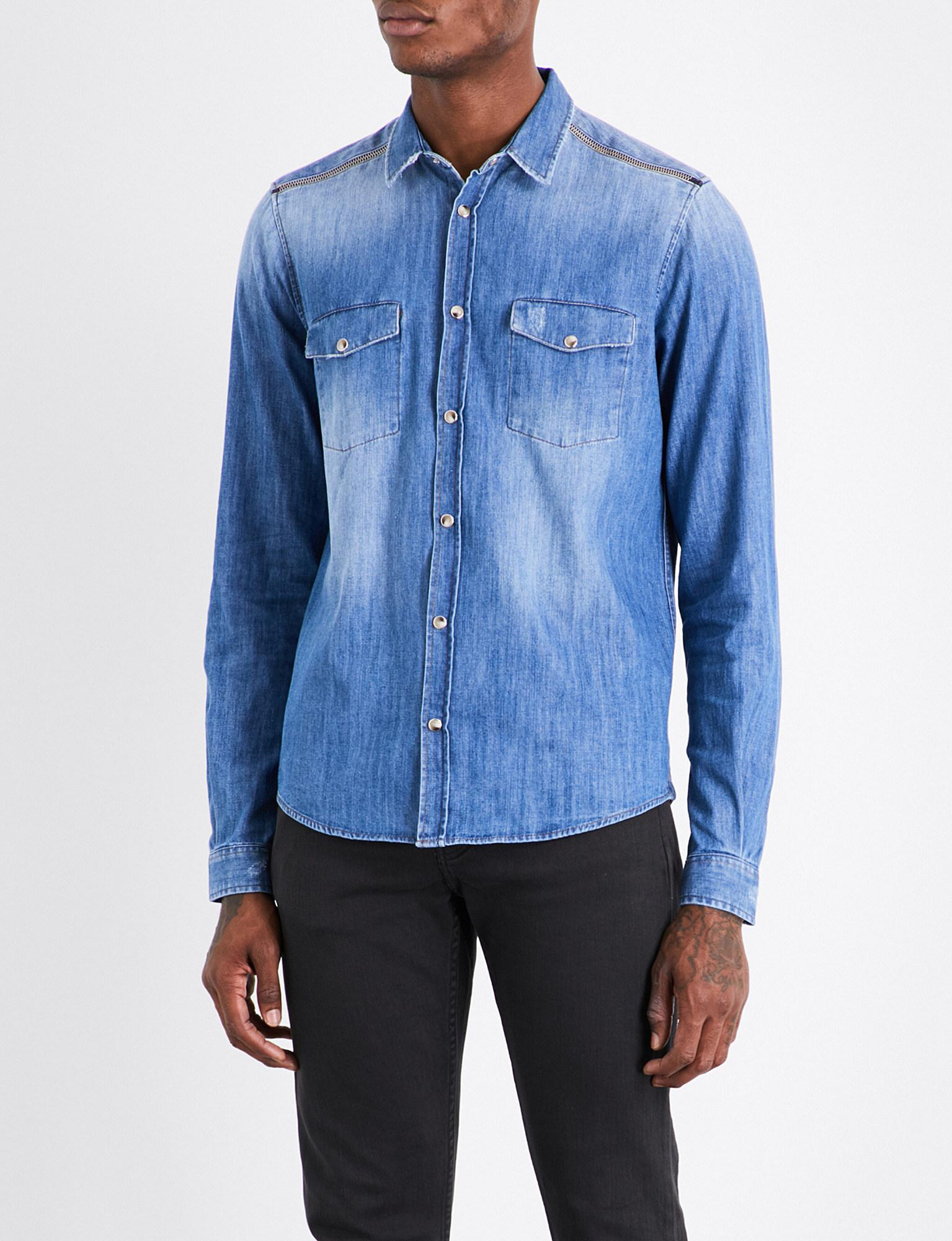 the kooples sport zipped shoulder classic fit denim shirt