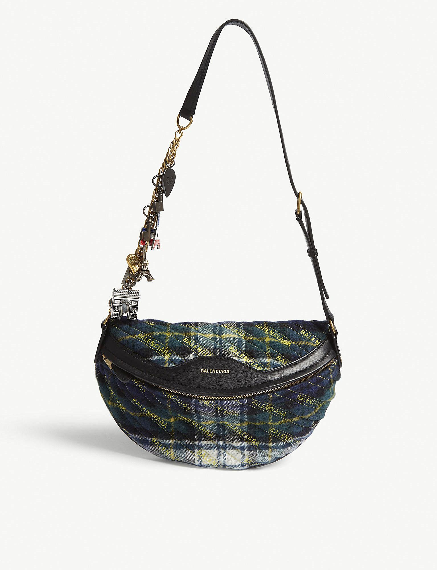 cc90ae710655 Lyst - Balenciaga Ladies Green Souvenir Xs Plaid Wool And Leather ...