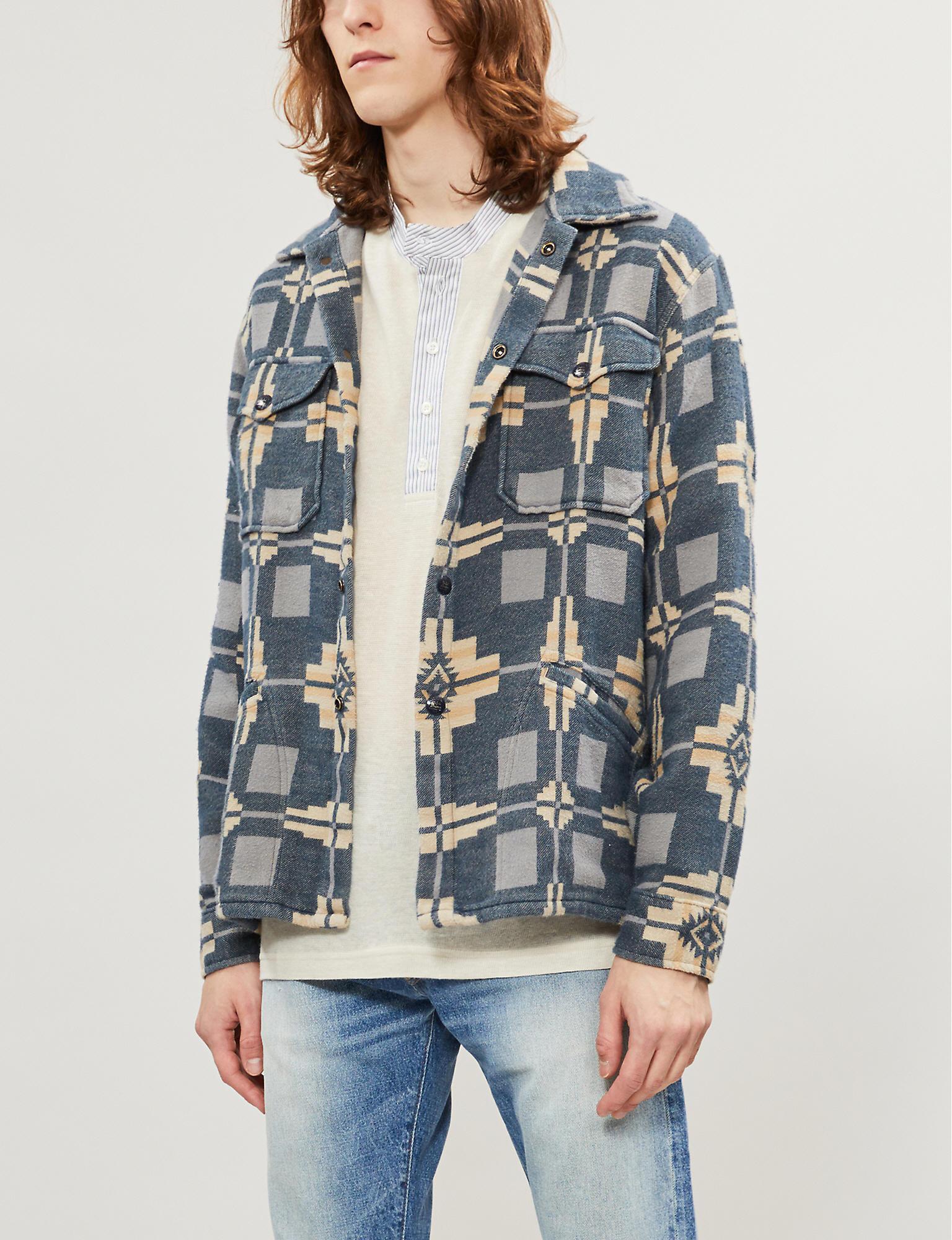 05eec3c8 RRL Aztec-print Cotton-fleece Overshirt in Blue for Men - Lyst