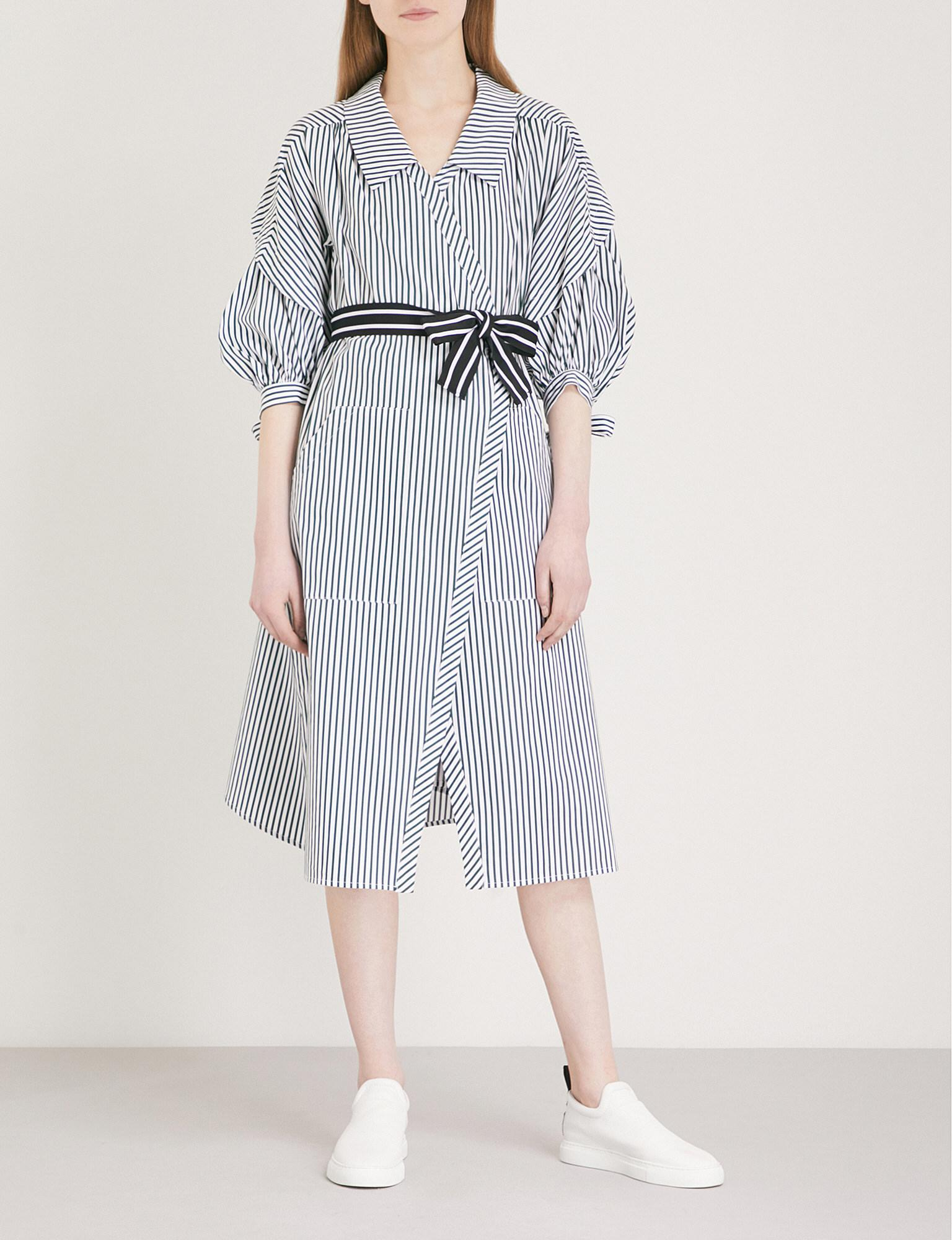 394542eaad Maje Rilucci Striped Cotton Shirt Dress in Blue - Lyst
