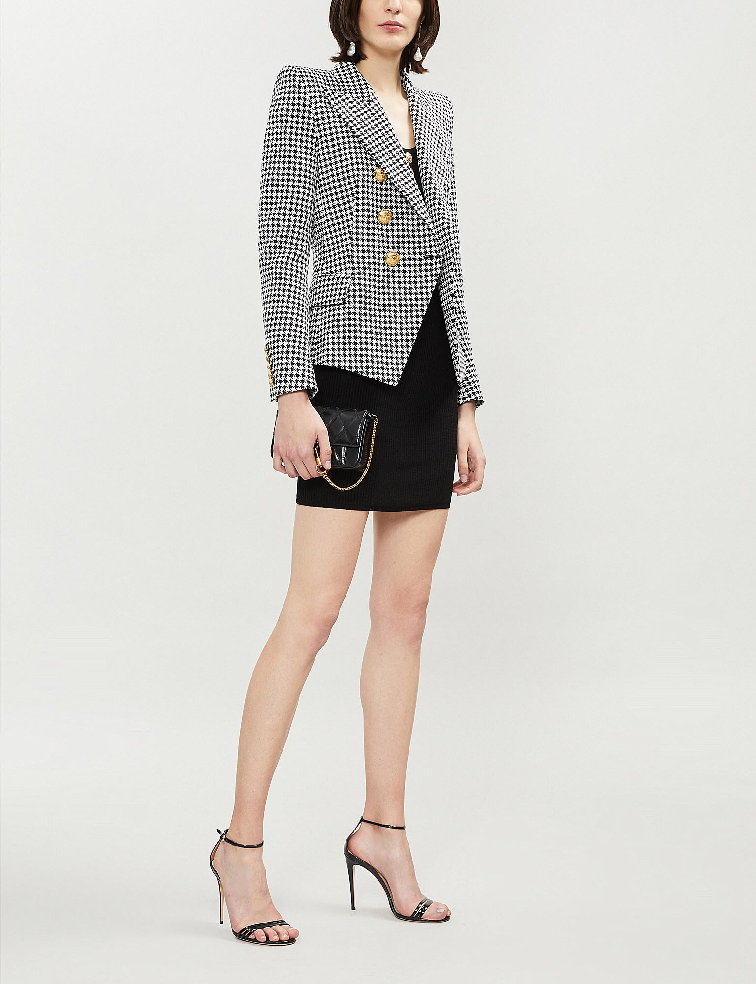1eb09a54 Lyst - Balmain Double-breasted Houndstooth Cotton-blend Jacket in Black
