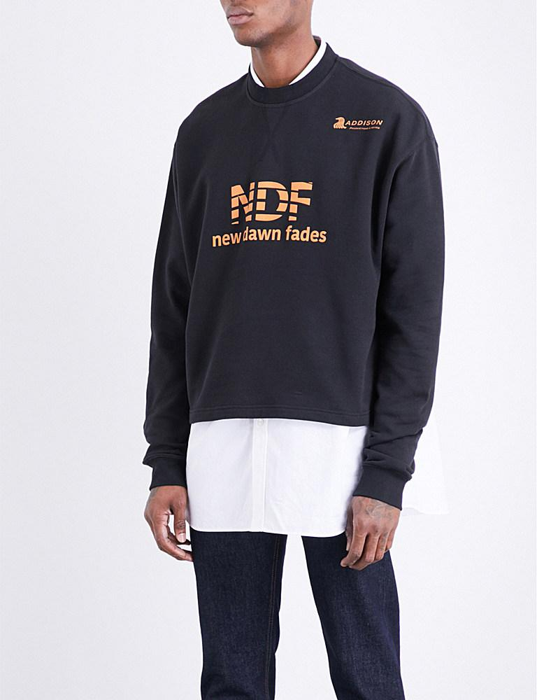Raf Simons Cropped Cotton-jersey Sweatshirt in Black for ...