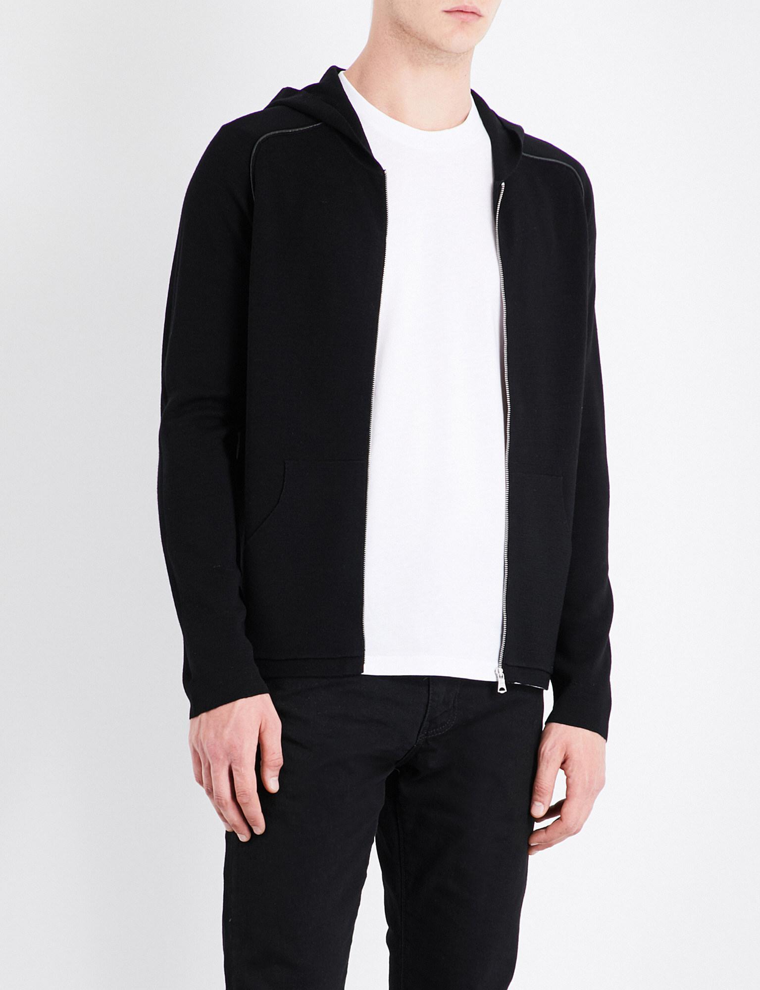 Sandro. Men's Black Zip-up Wool Hoody