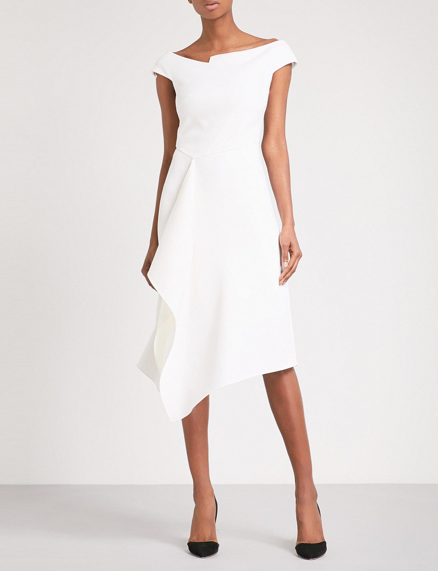 5519d714c8525 Roland Mouret Barwick Fit-and-flare Wool-crepe Dress in White - Lyst