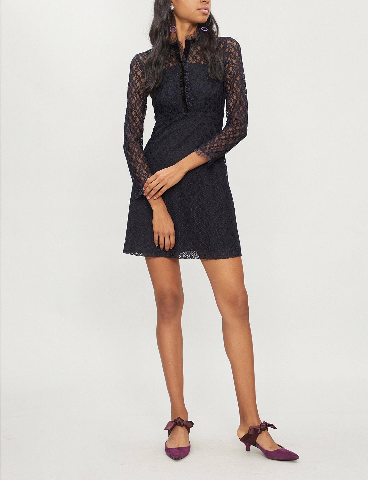 Velvet Trim Lace Dress