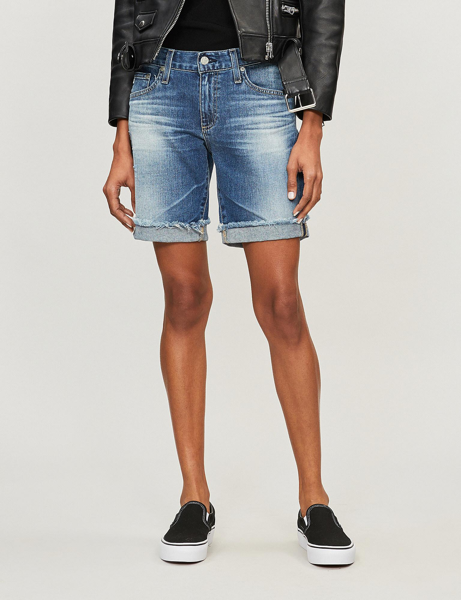 75f0ad391d Lyst - AG Jeans Nikki Skinny Mid-rise Denim Shorts in Blue