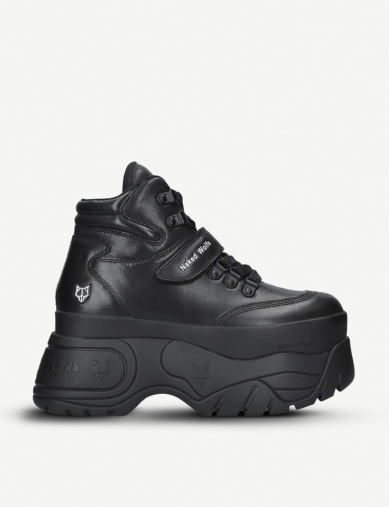 naked wolfe black trainers
