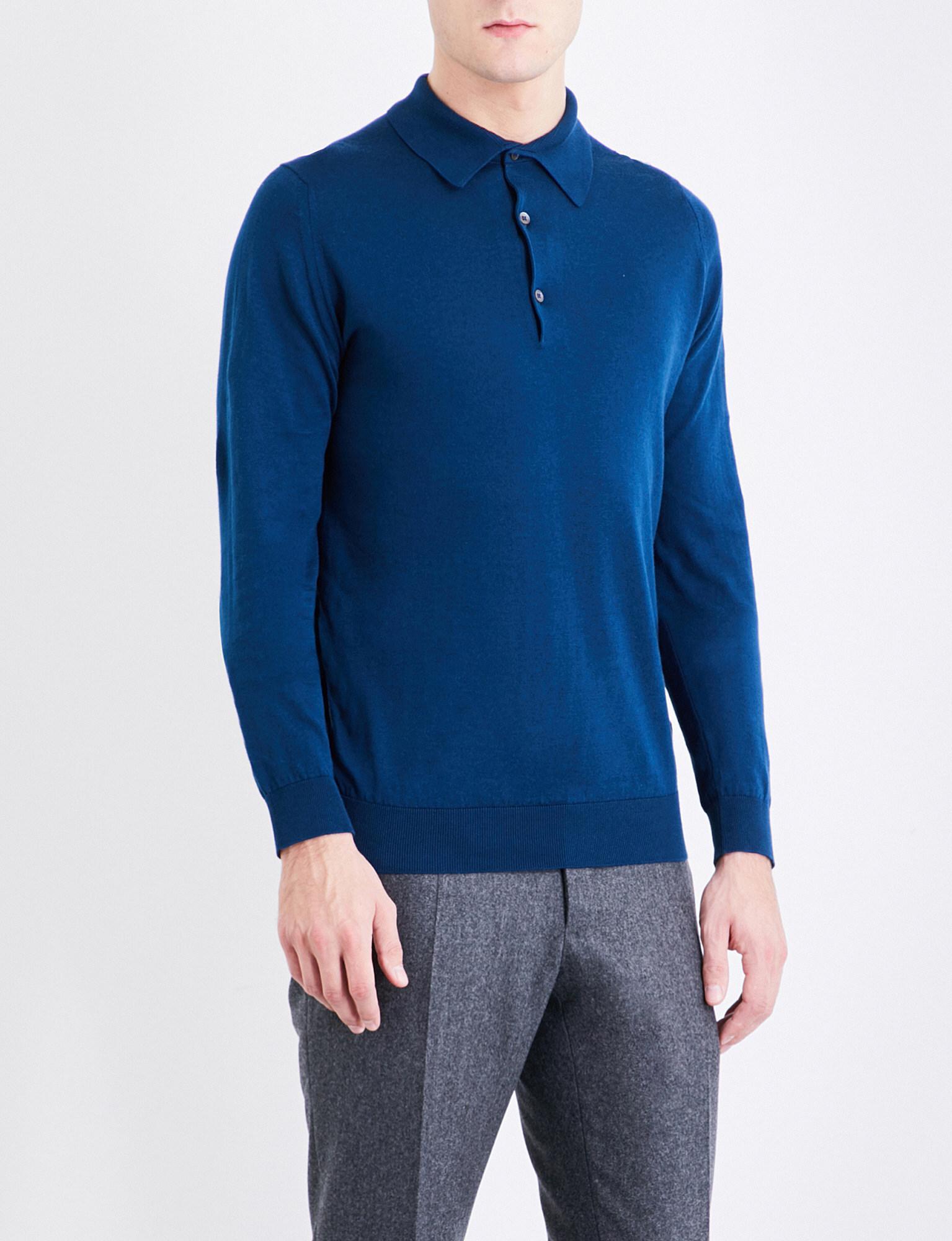 d42cc79d John Smedley Bradwell Knitted Jumper in Blue for Men - Lyst