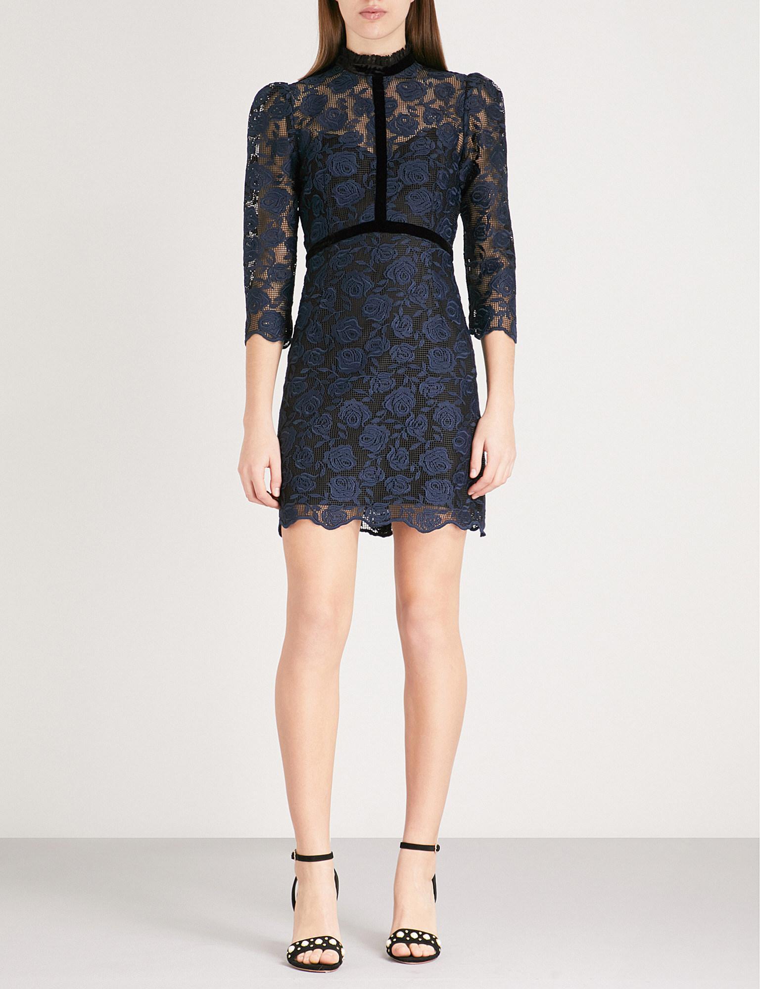 Velvet Trim Lace And Mesh Dress