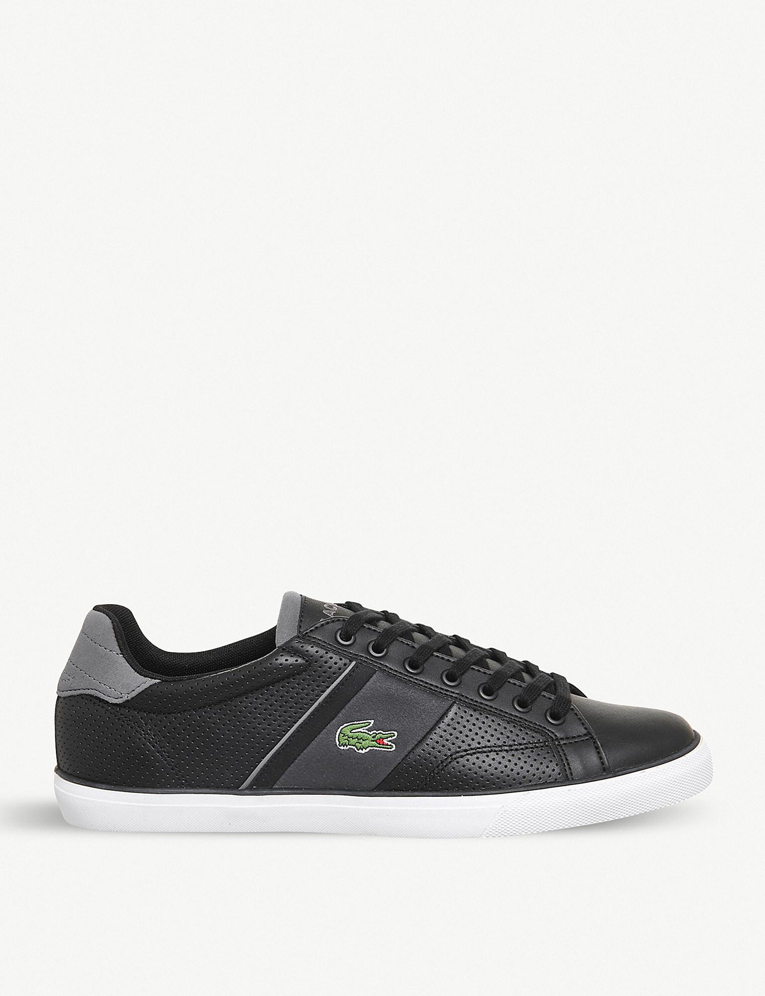 2b3b4c1665ff Lyst - Lacoste Fairlead Perforated Leather Trainers in Black for Men