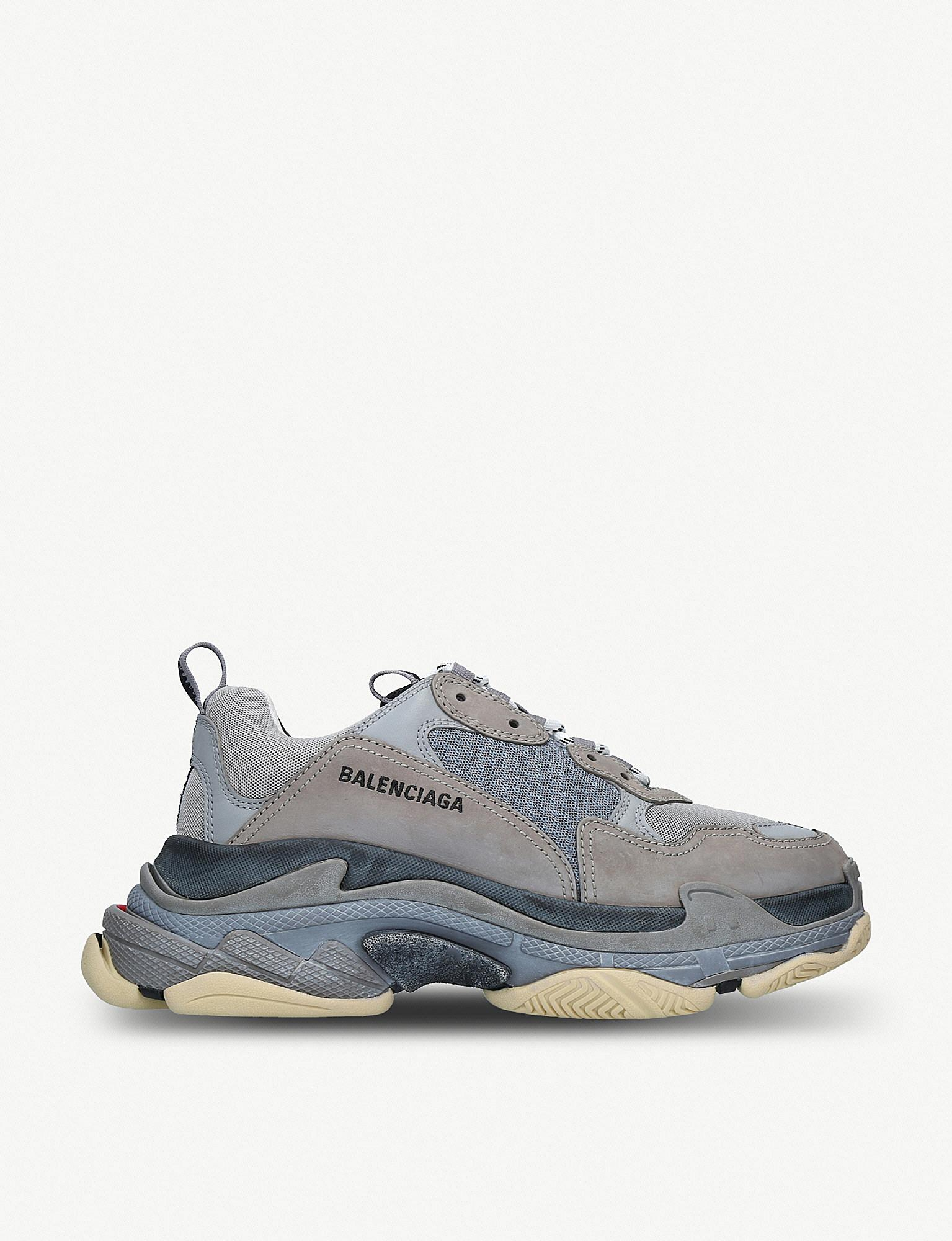 59d6ce3a213dc Balenciaga Triple S Two-tone Leather And Mesh Trainers in Gray for ...