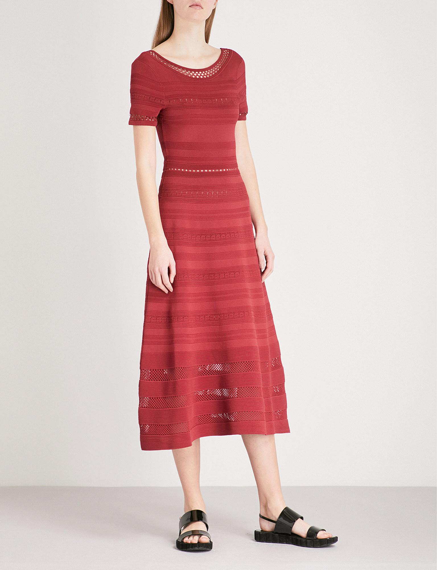 4e7405ff554 Lyst - Sandro Mesh-panelled Stretch-knit Midi Dress in Red