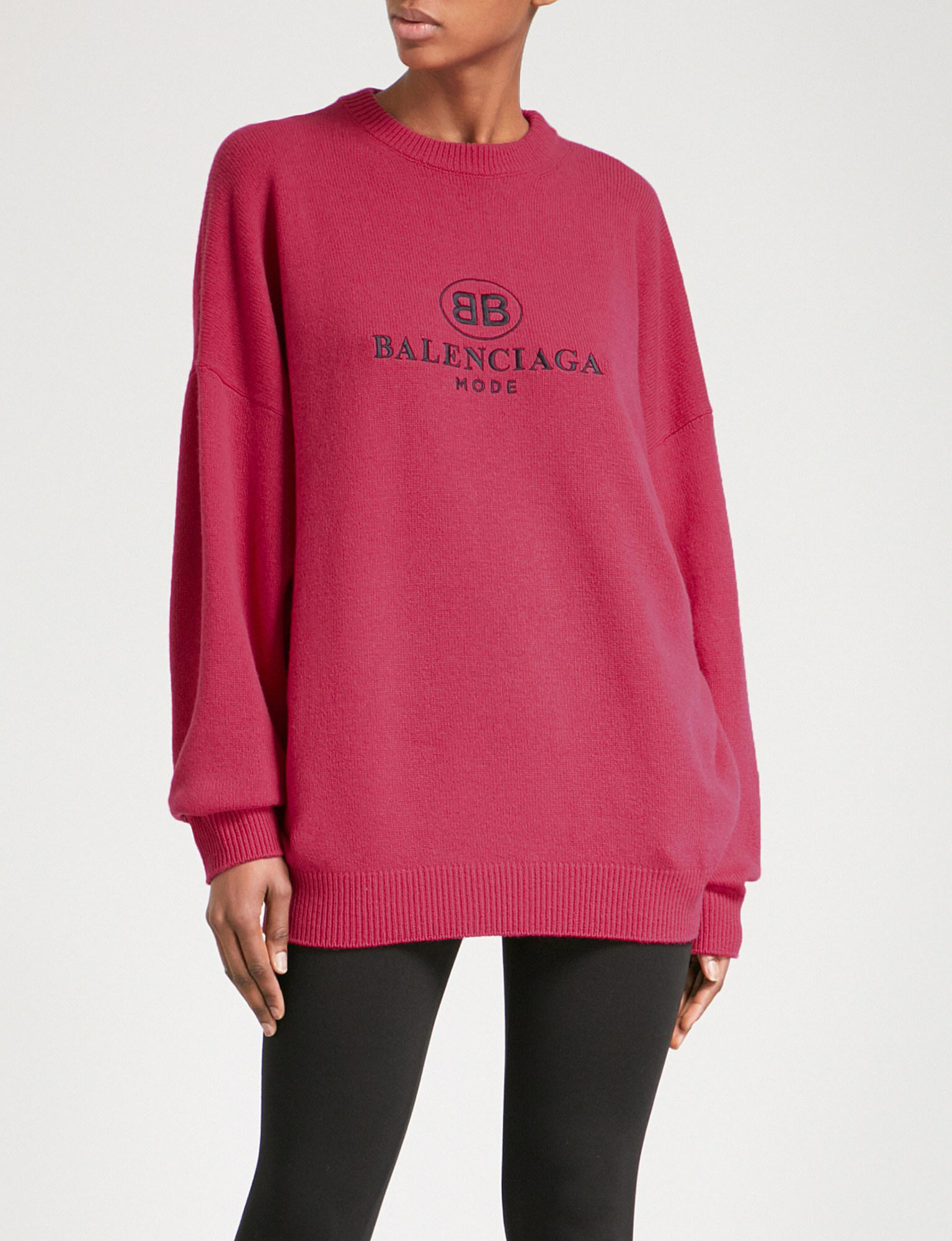 Womens Logo-Embroidered Wool Sweater Balenciaga 2018 Newest Prices Sale Online Cheap Visit New Ga3FD