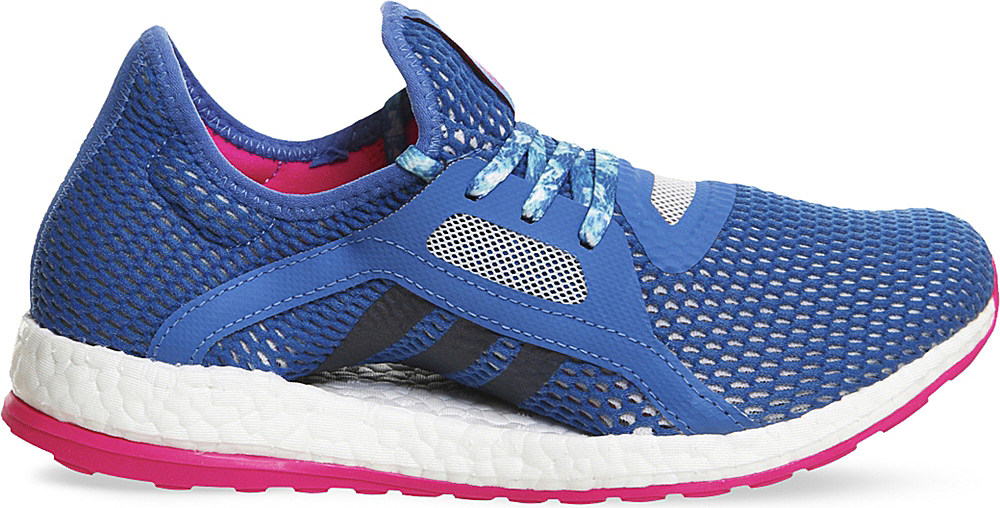 adidas Originals Synthetic Pureboost X Mesh Trainers in Blue/Fuchsia (Blue)