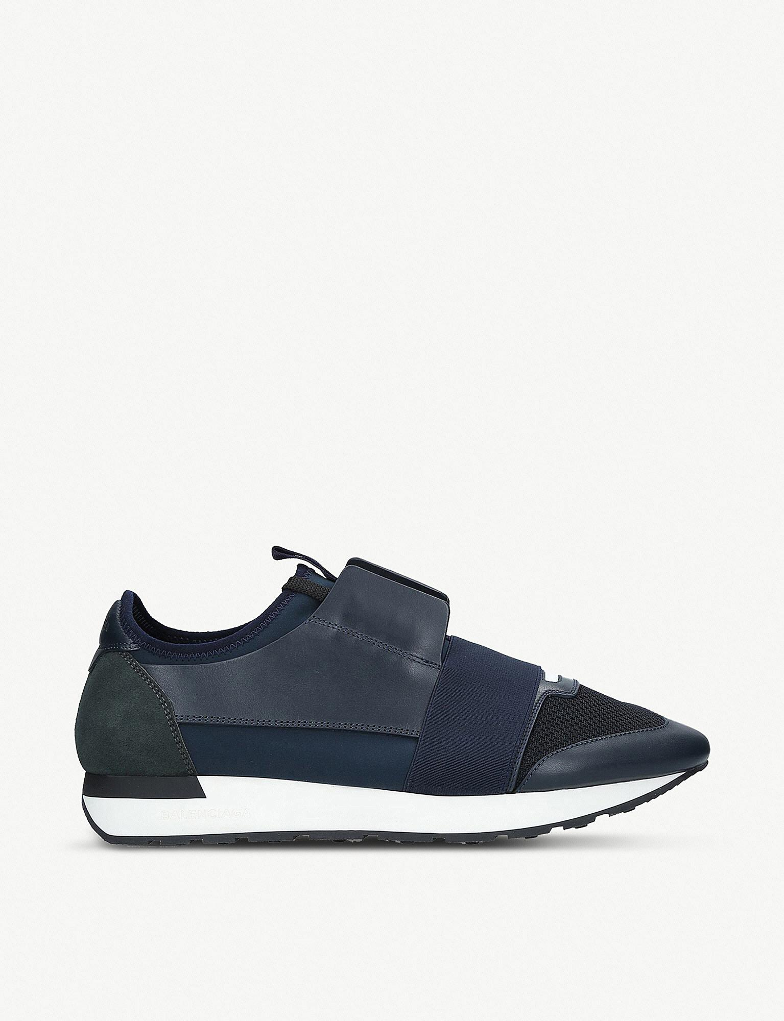 d7eb76fd66a5 Balenciaga Mens Blue Striped Race Runners Leather Sneakers in Blue ...