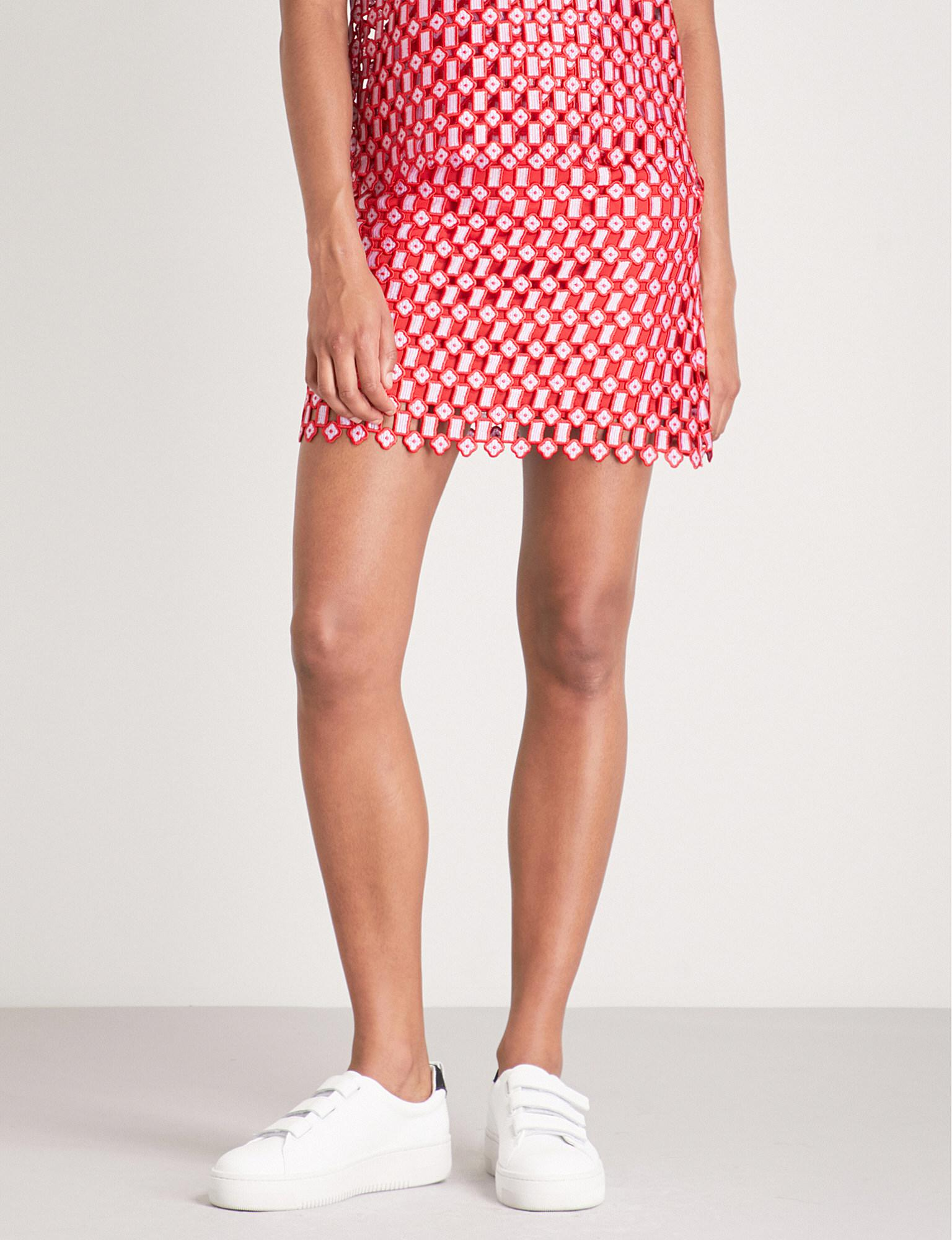 8f069f705 Sandro Embroidered Lace Mini Skirt in Red - Lyst