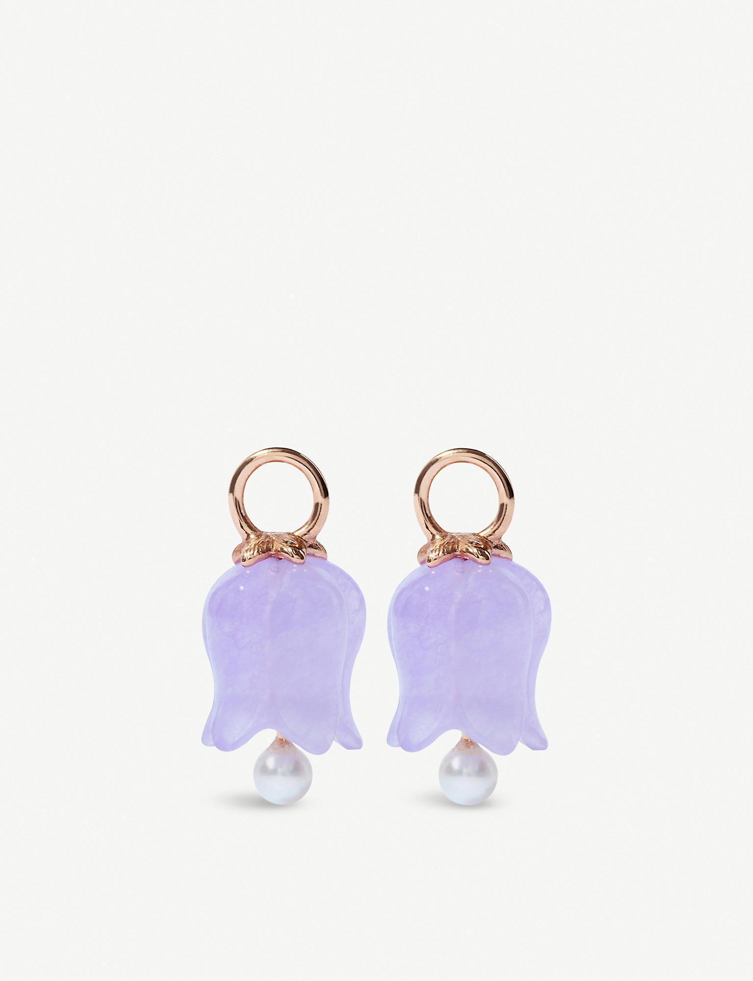 Annoushka 18ct Rose Gold Lavender Jade Tulip Earring Drops