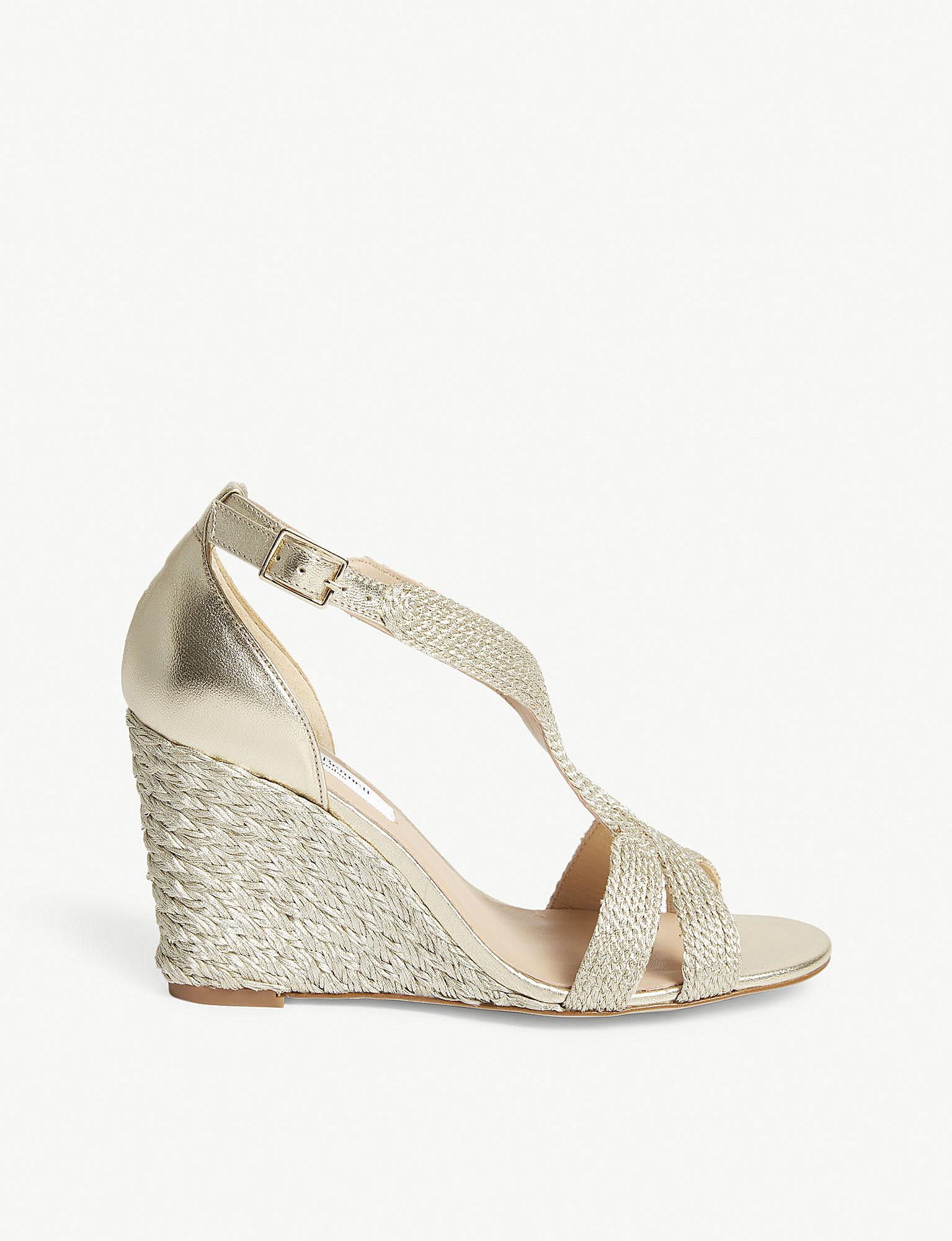 bc07b284ad Lyst - L.K.Bennett Mali Metallic Leather Heeled Sandals in Metallic
