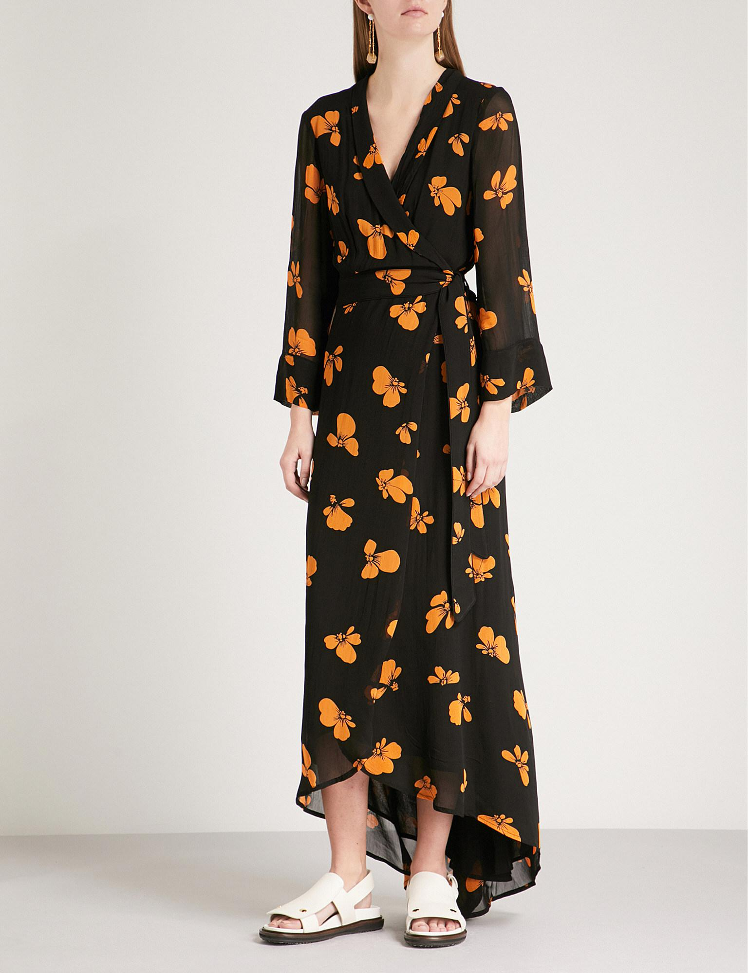 8d07e3a5835 Ganni Fairfax Floral-print Georgette Wrap Dress in Black - Lyst