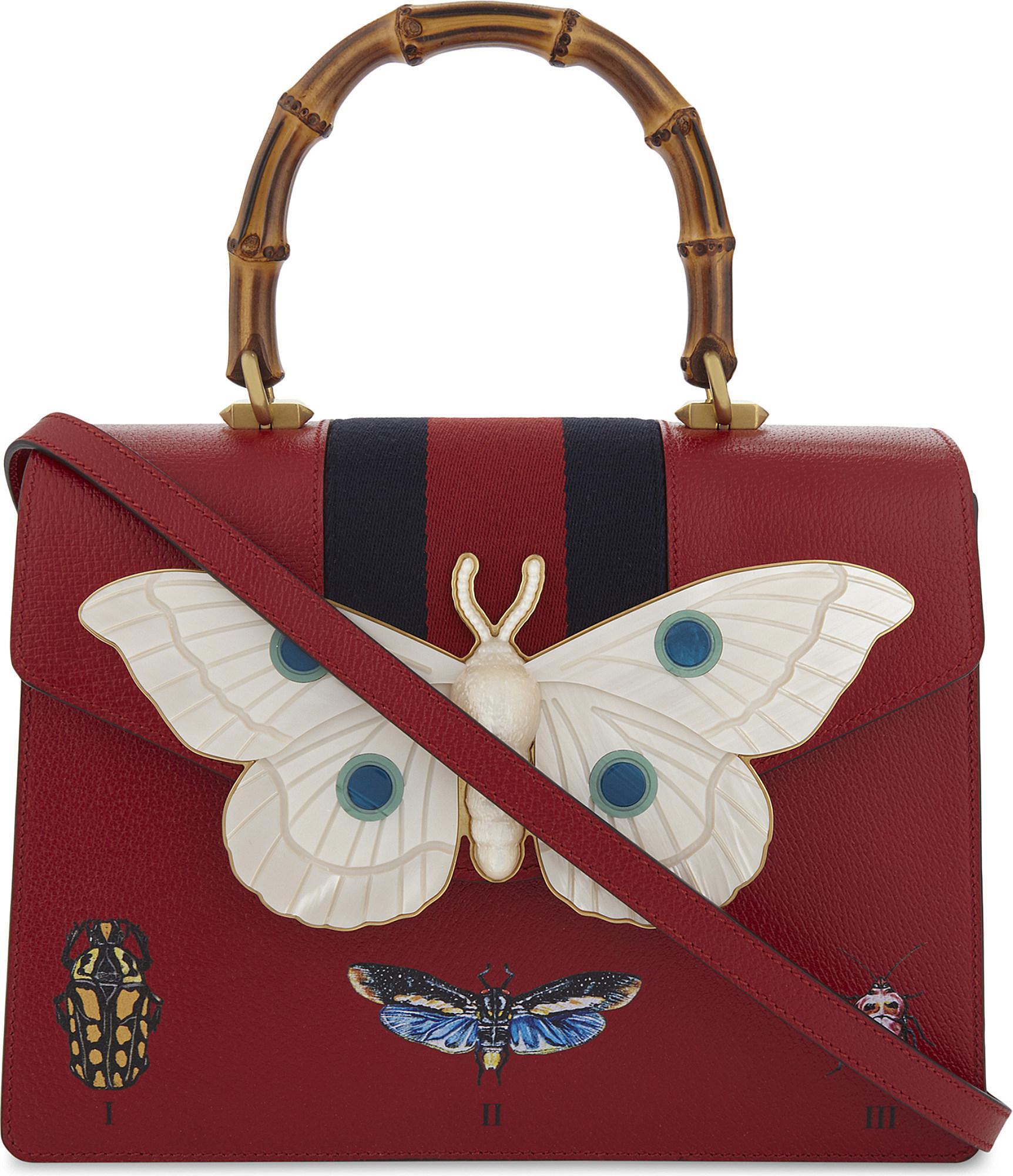 a715d738cb0 Lyst - Gucci Moth Motif Web Stripe Leather Shoulder Bag in Red