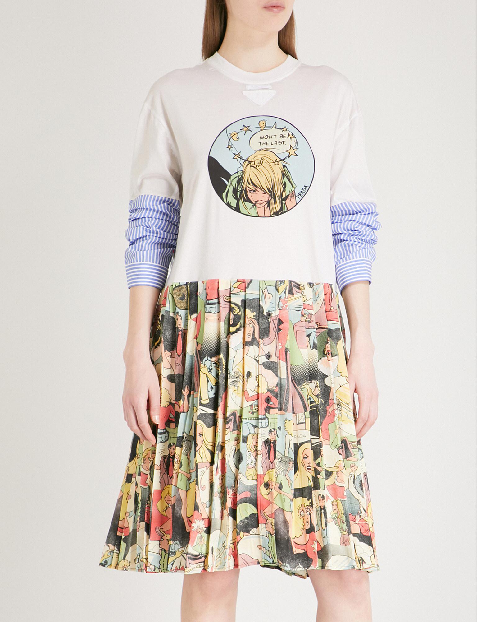 Printed cotton dress Prada Browse a5rmv