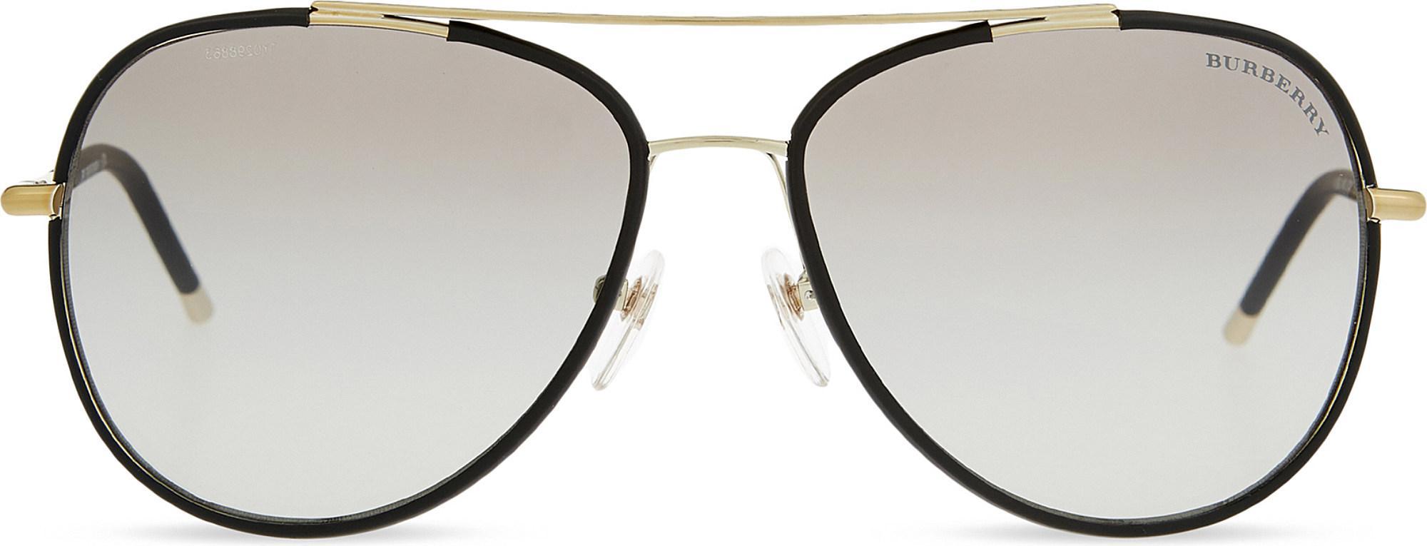 4d30f75a15a Lyst - Burberry B3078j Aviator Sunglasses