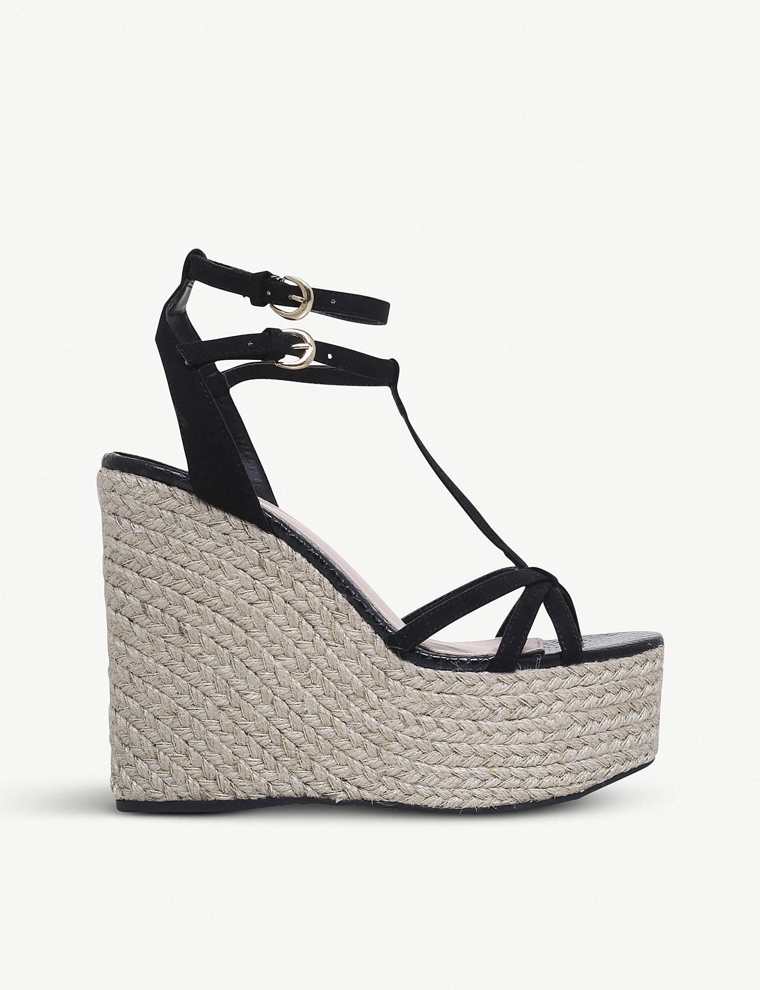 9b159cd8e7f Lyst - Miss Kg Pamela Faux-suede Wedged Sandals in Black