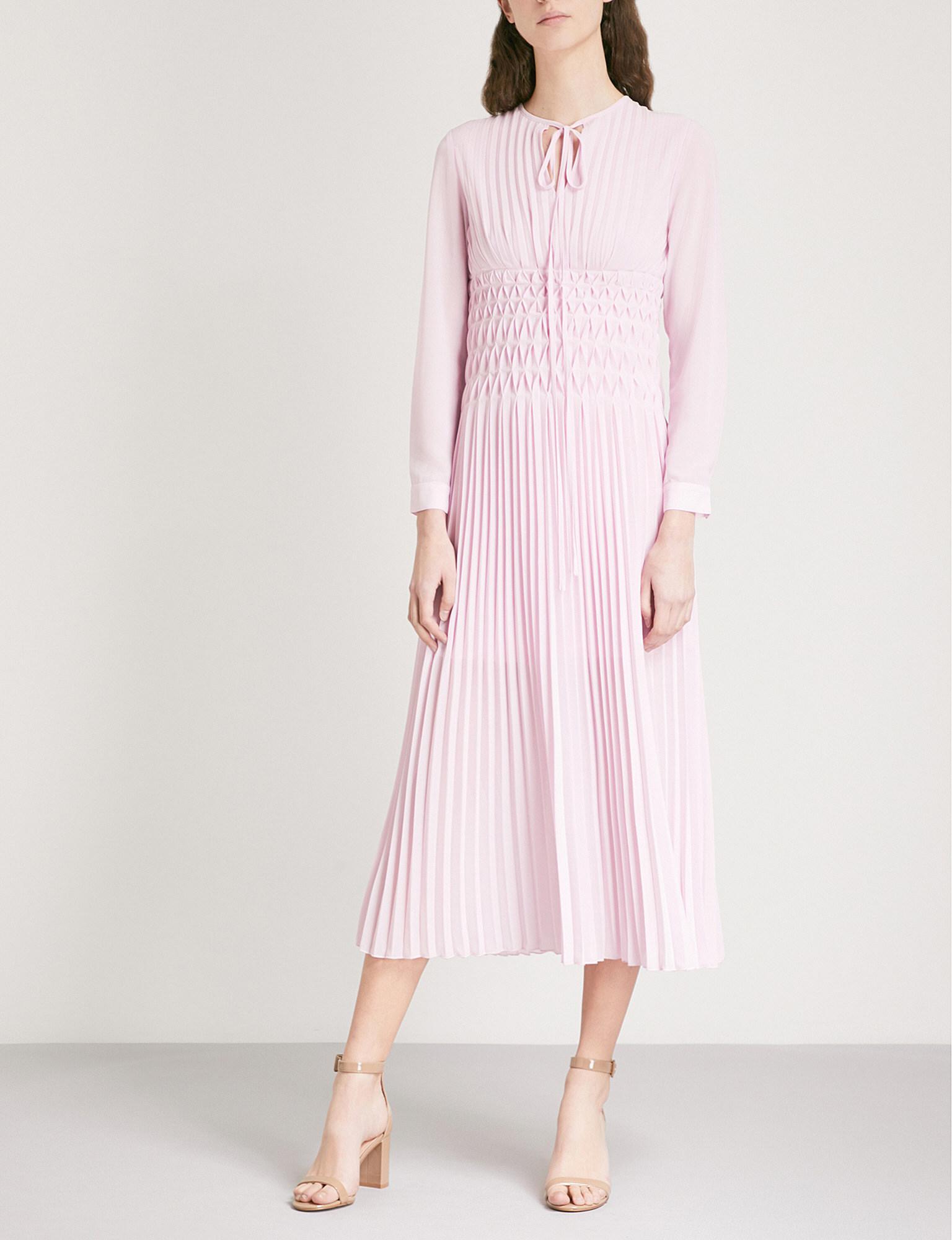 Lilac chiffon midi dress